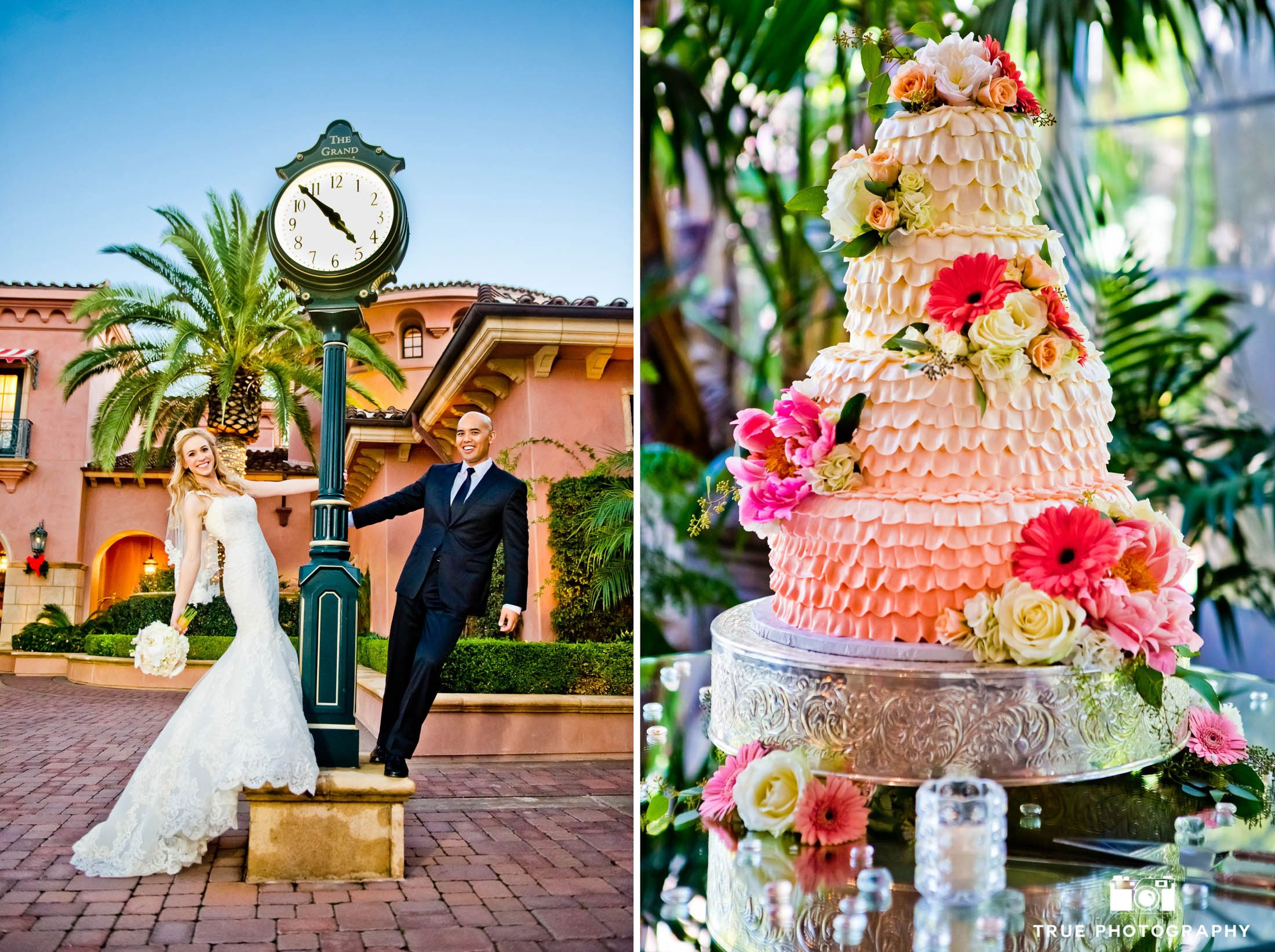 Fun and tropical wedding couple and cake