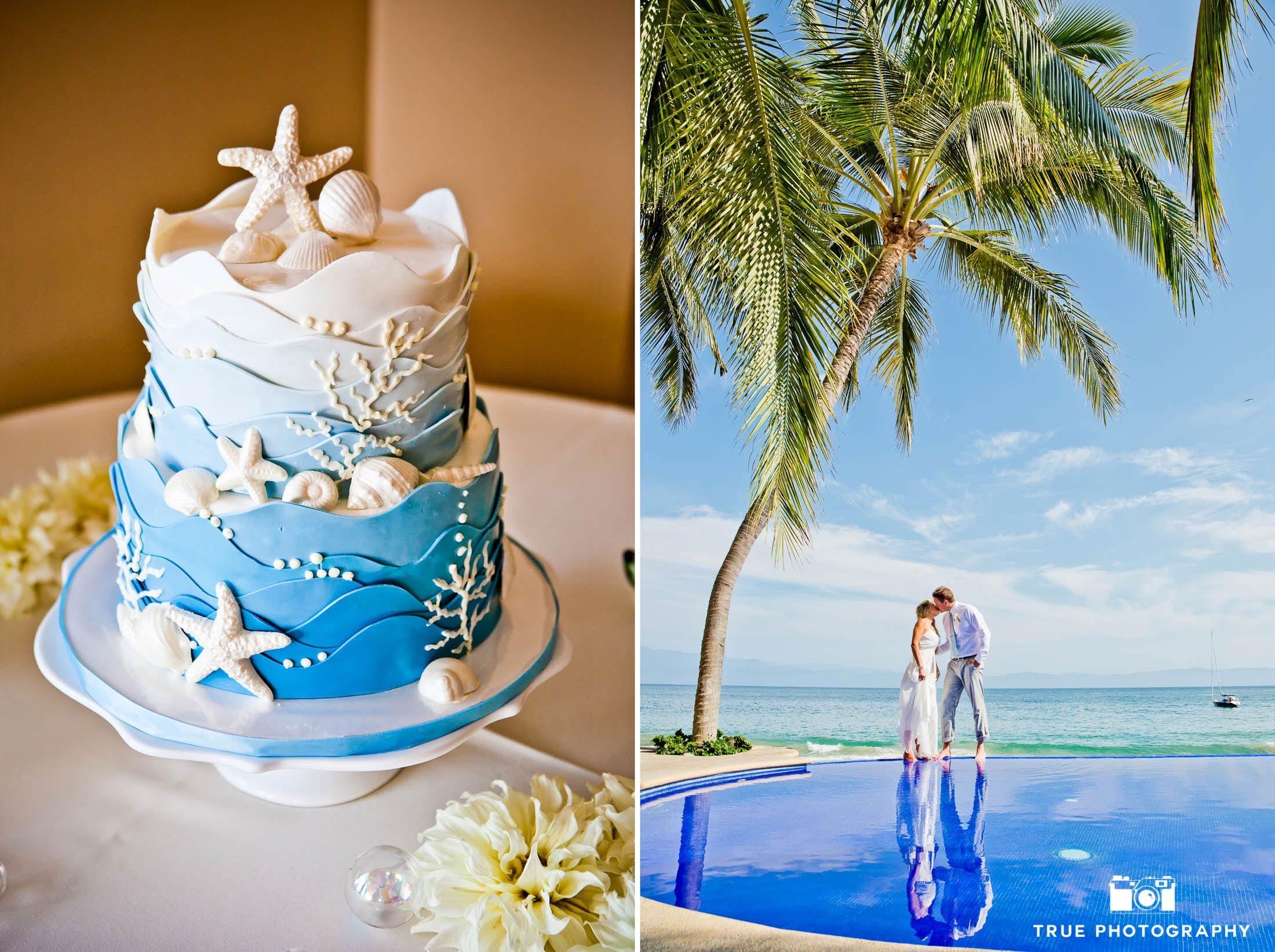 Tropical Beach Wedding with Blue Cake