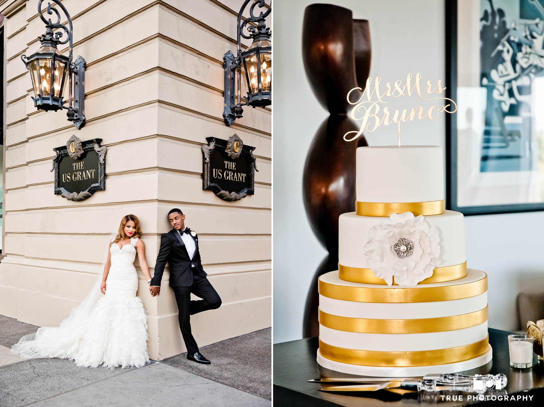 Classic Wedding Couple and Gold Cake at US Grant