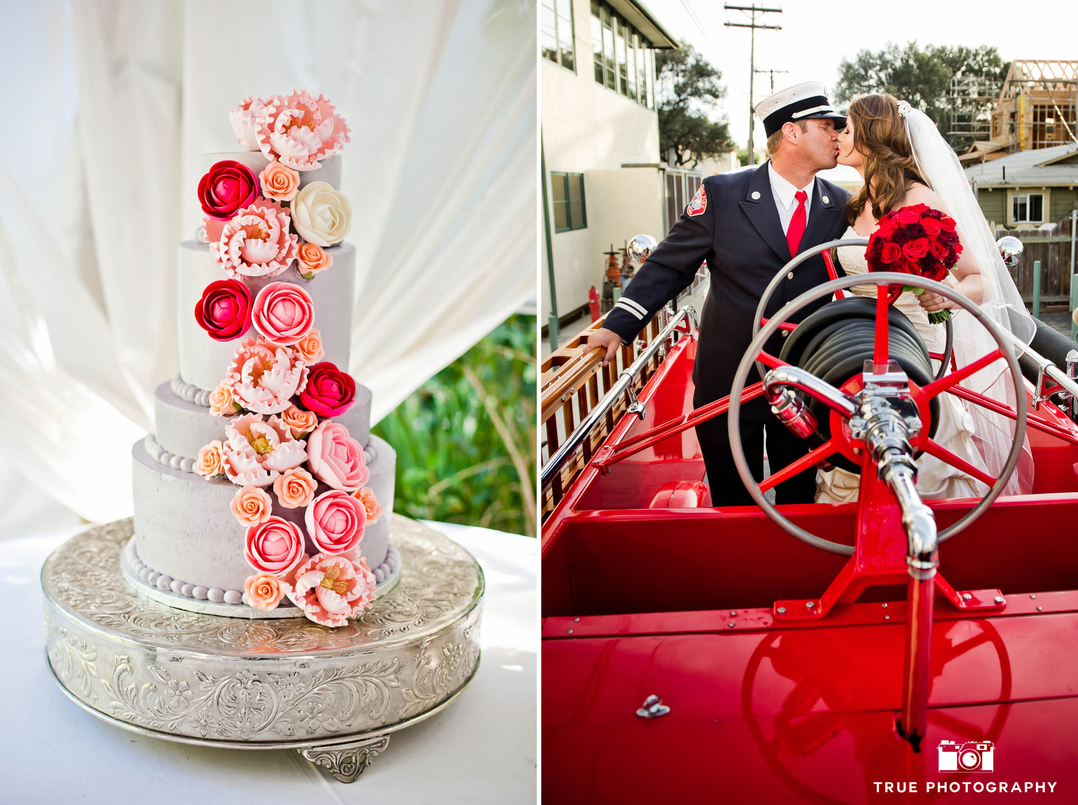 Couple with firetruck and white with red flowers wedding cake