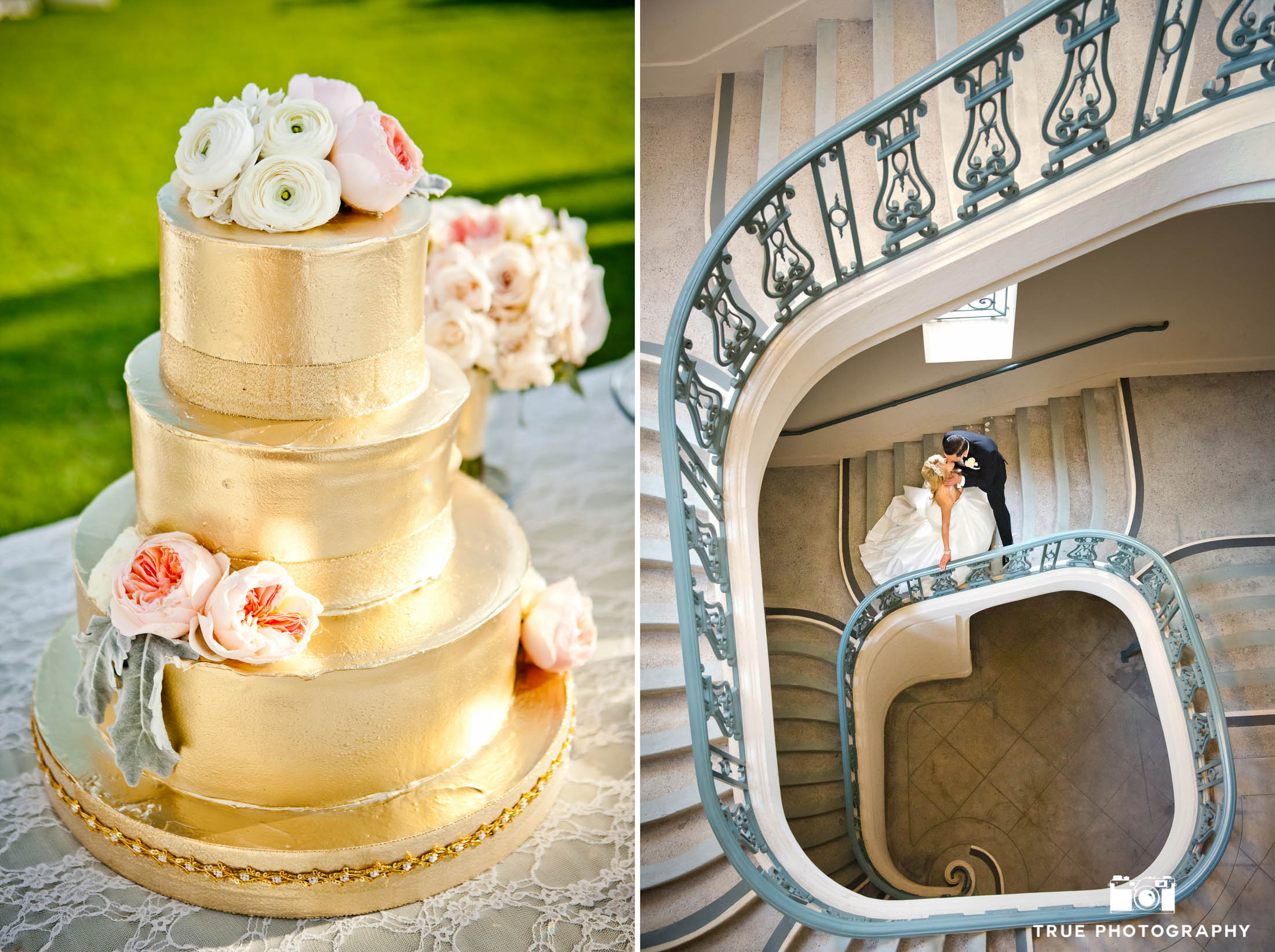 Traditional Couple in spiral staircase with gold crusted wedding cake