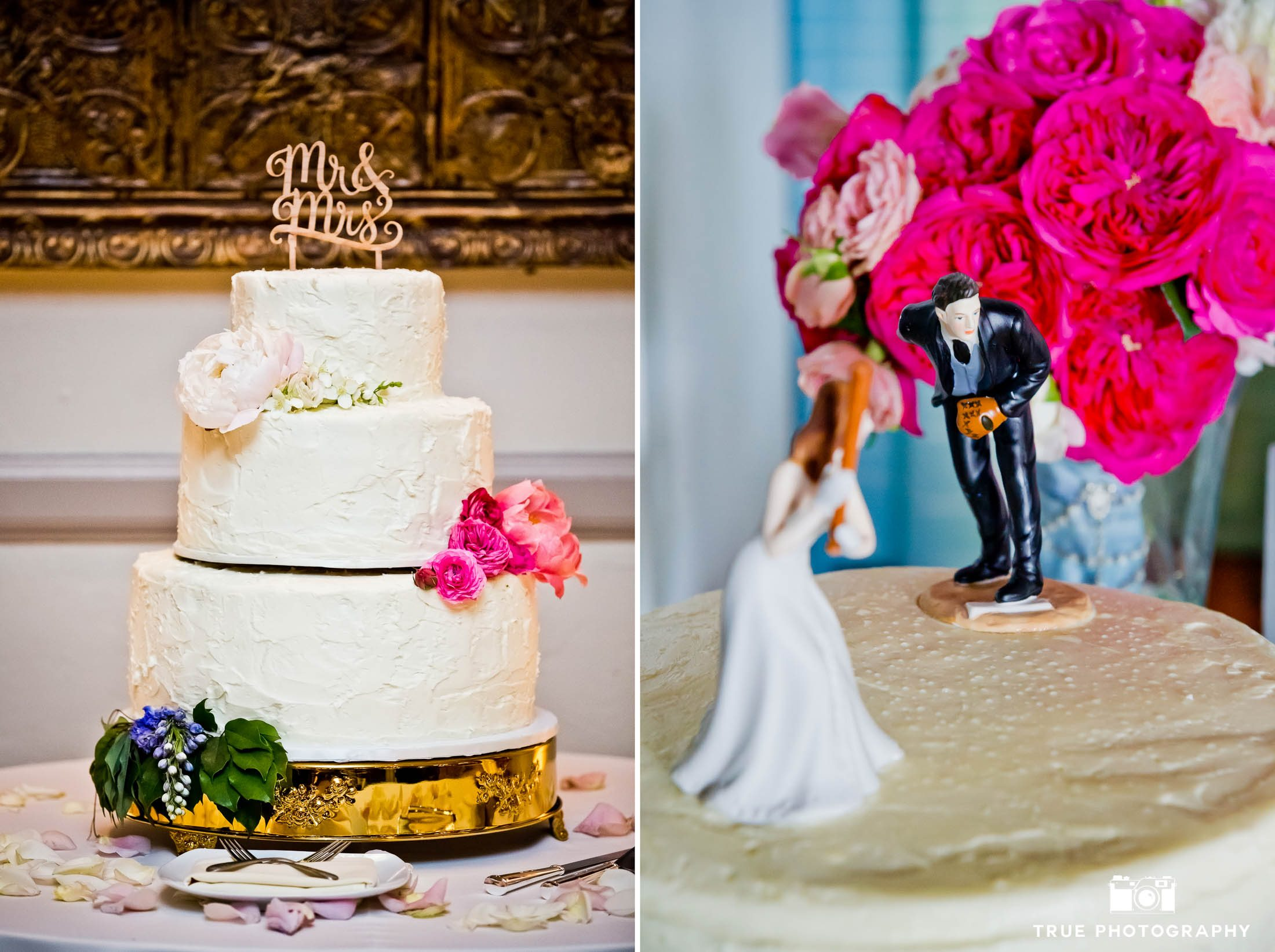 Cute text and sports-inspired wedding cake topper