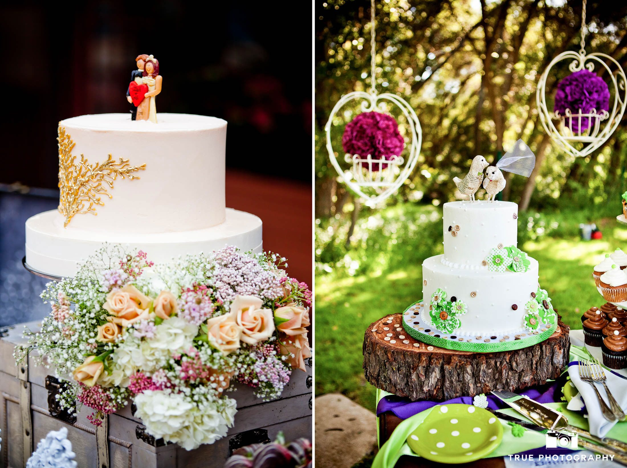 Rustic, chic wedding cake toppers of birds and wedding couple
