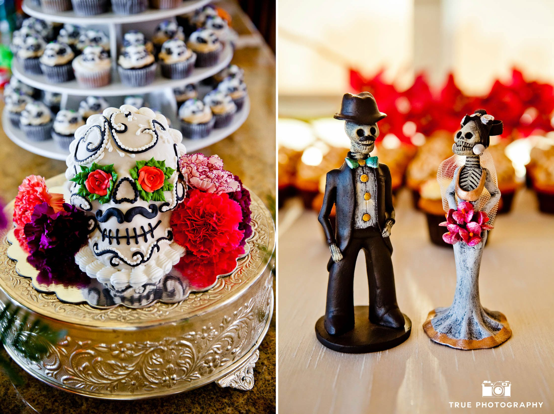 Mexican-inspired, day of dead wedding cake toppers