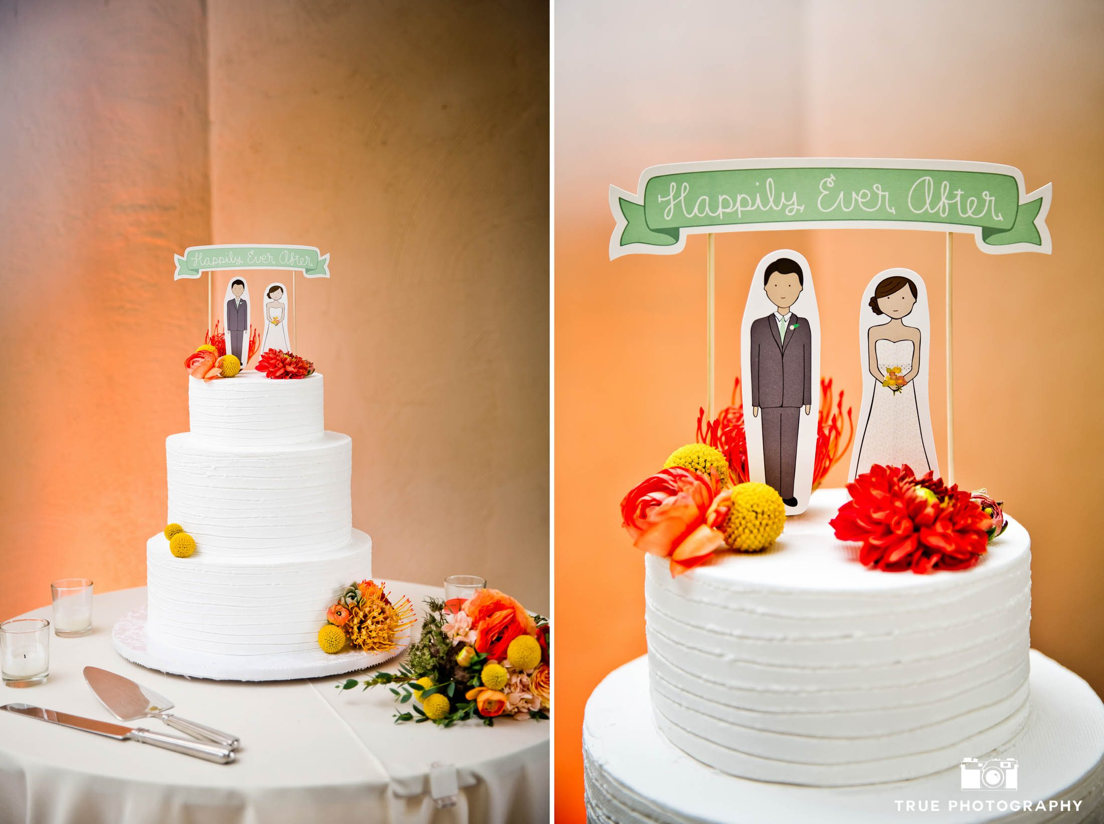 Modern, chic cake topper customized to look like wedding couple