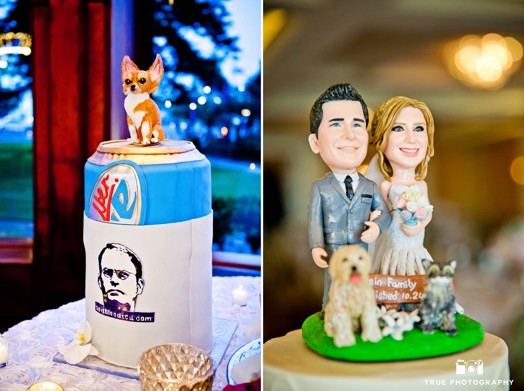 Funny and cute dog-inspired wedding cake toppers with wedding couple