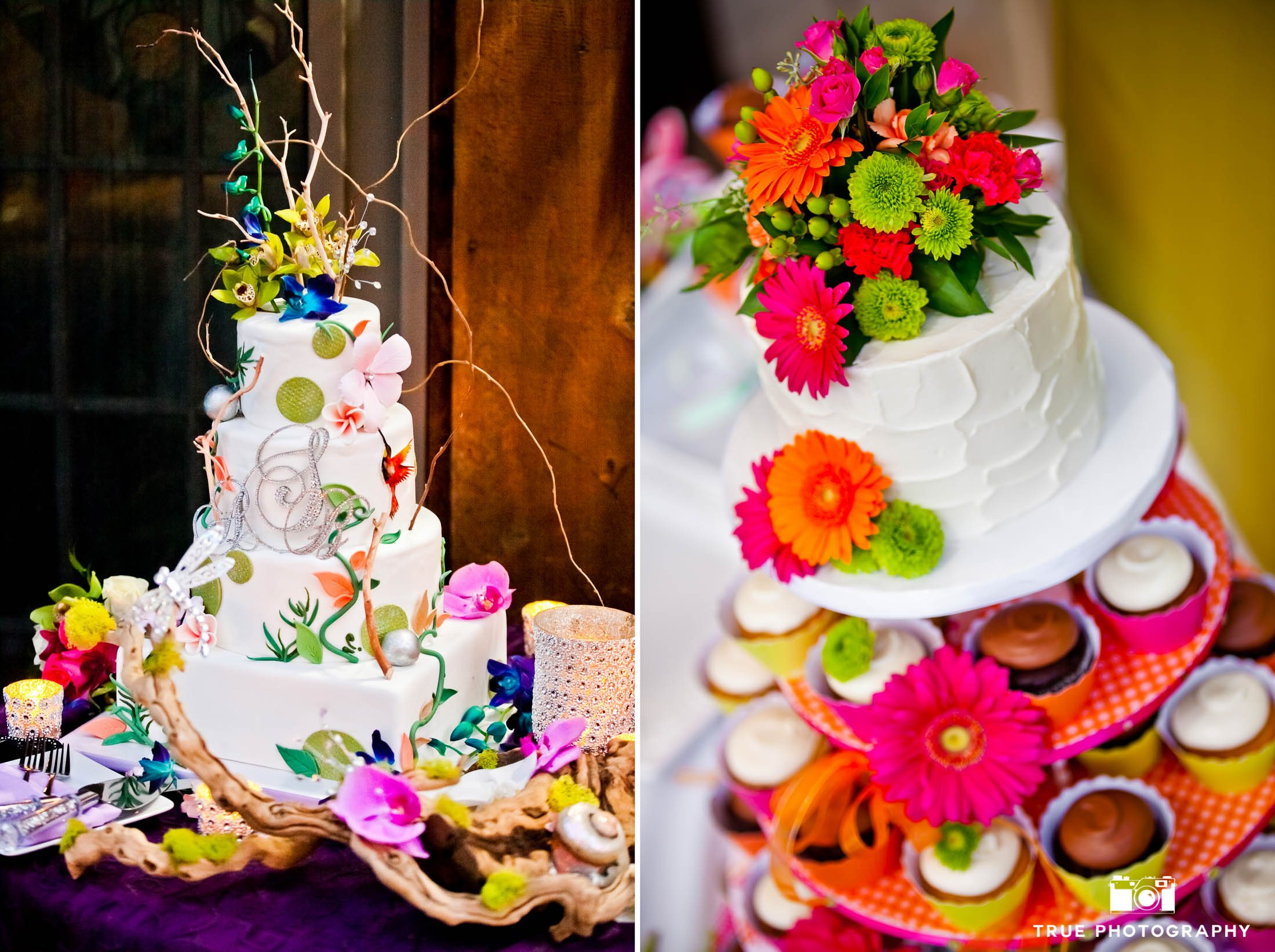 Colorful, floral and exotic wedding cake toppers