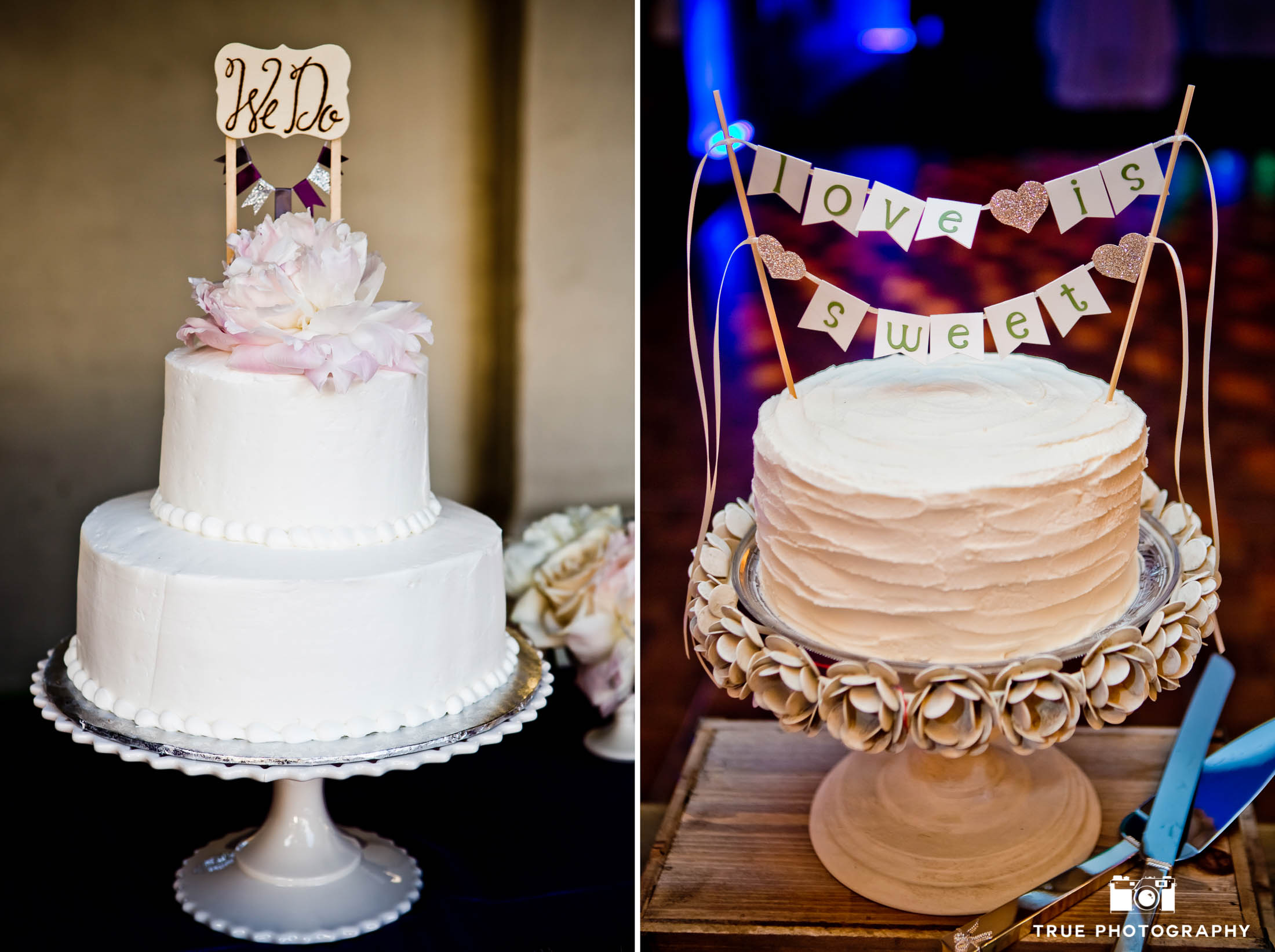 Cute, rustic wedding cake toppers with bannered signs