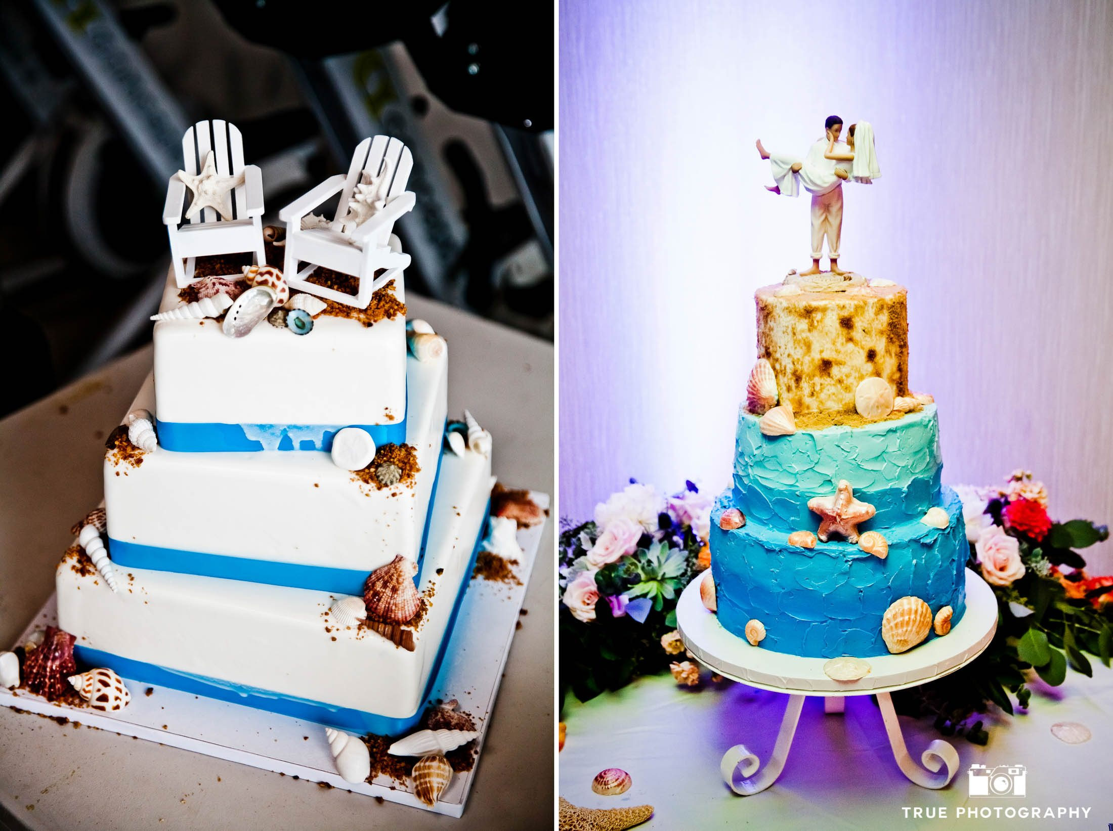 Creative, beach-inspired wedding cake toppers with chairs and sand