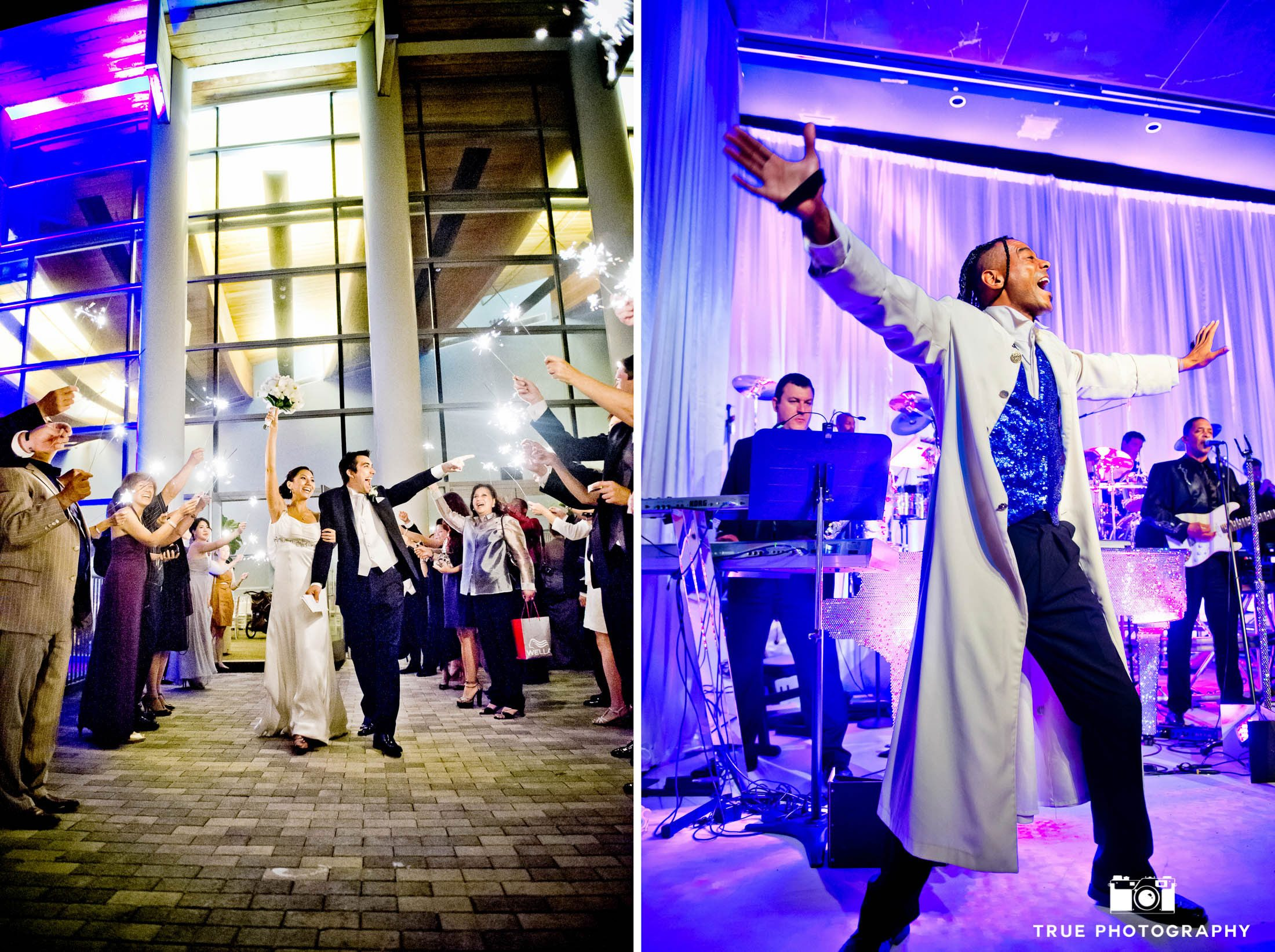 Guests are entertained during wedding reception with grand exit and live performances