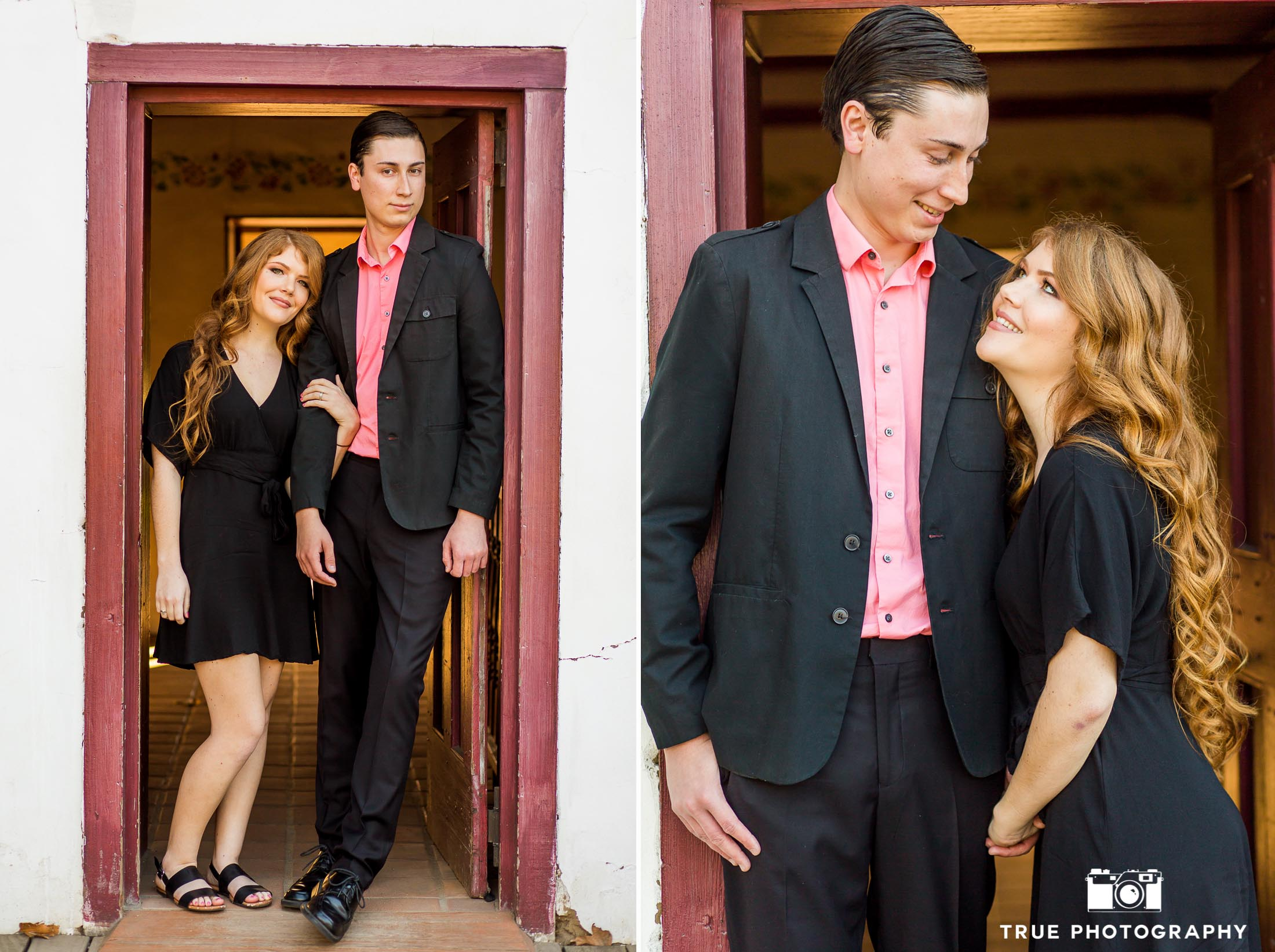 couple leaning against red rustic doorway old town san diego