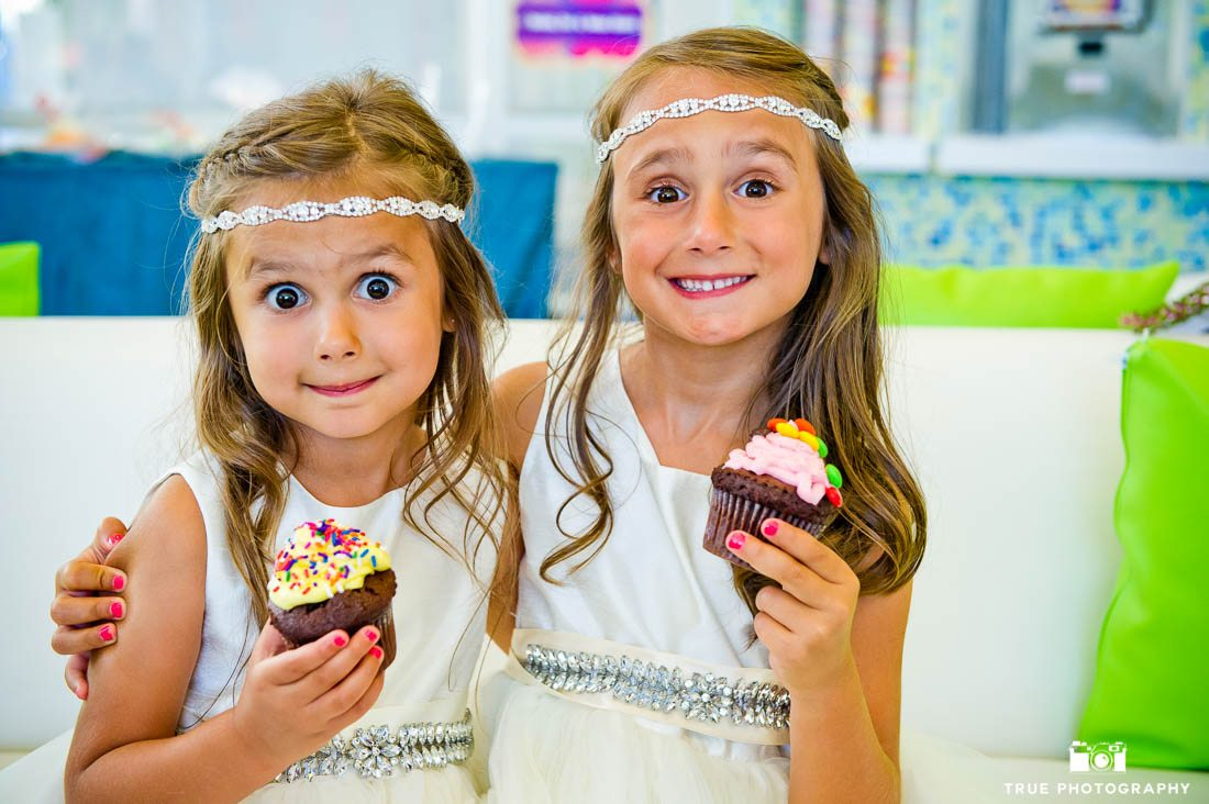 Flower girls in jewled headbands