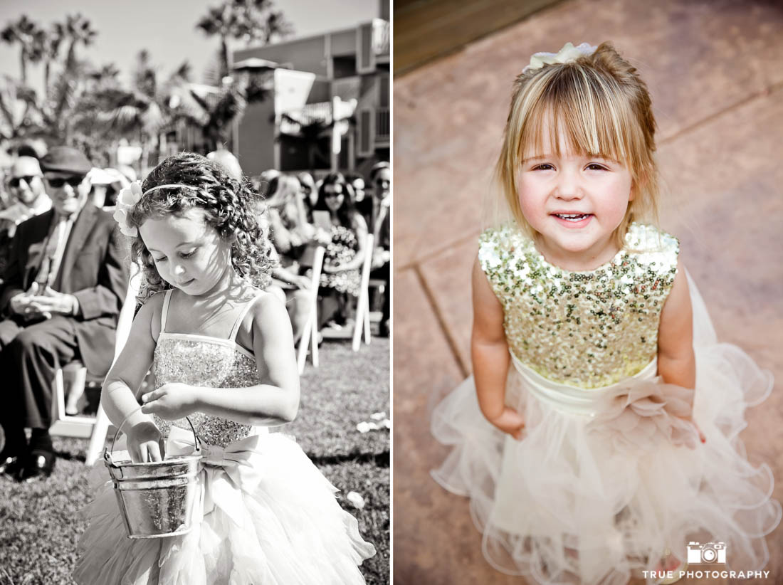 flower girls in glittery dresses