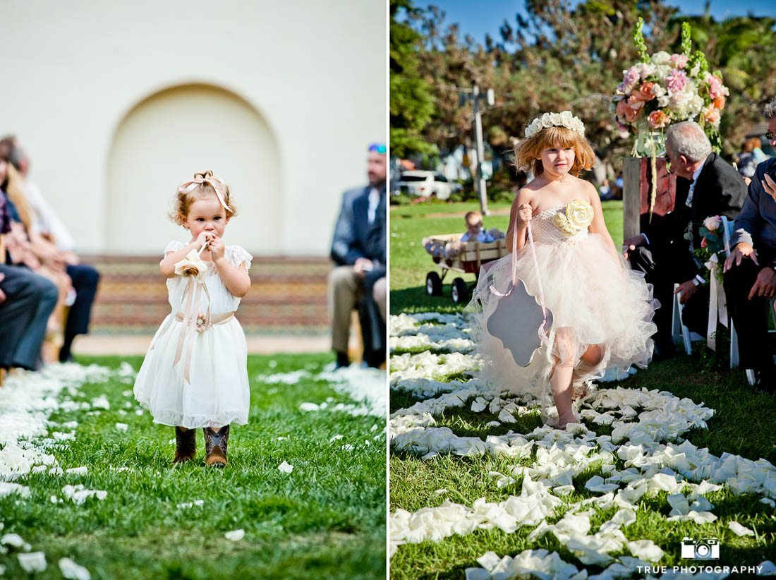 Flower girls look sweet in neutral tones.