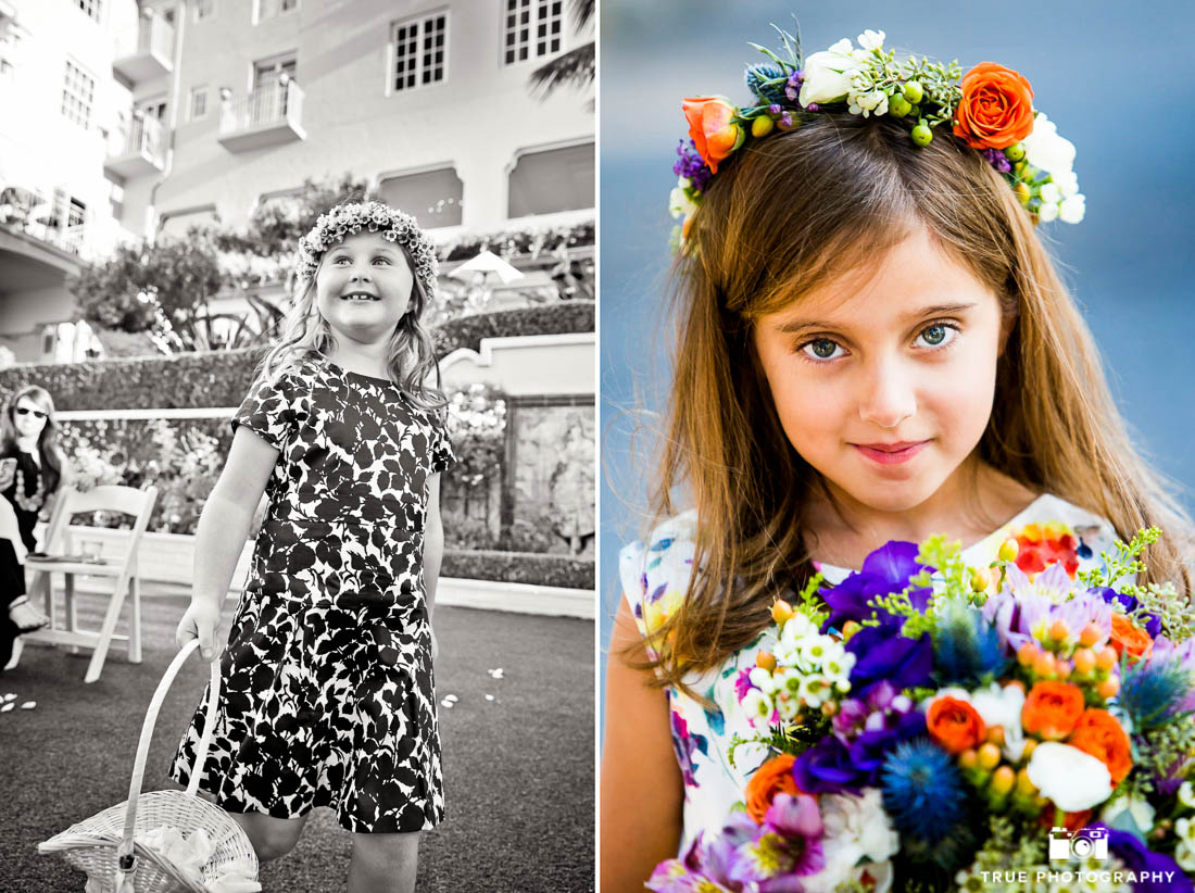 Flower girls in patterned dresses on a wedding day