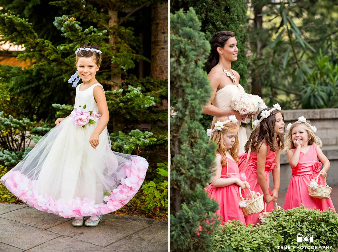 Flower girls wear colorful dresses
