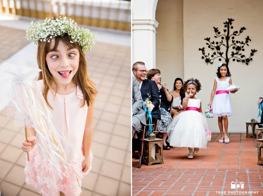 Flower girls being goofy