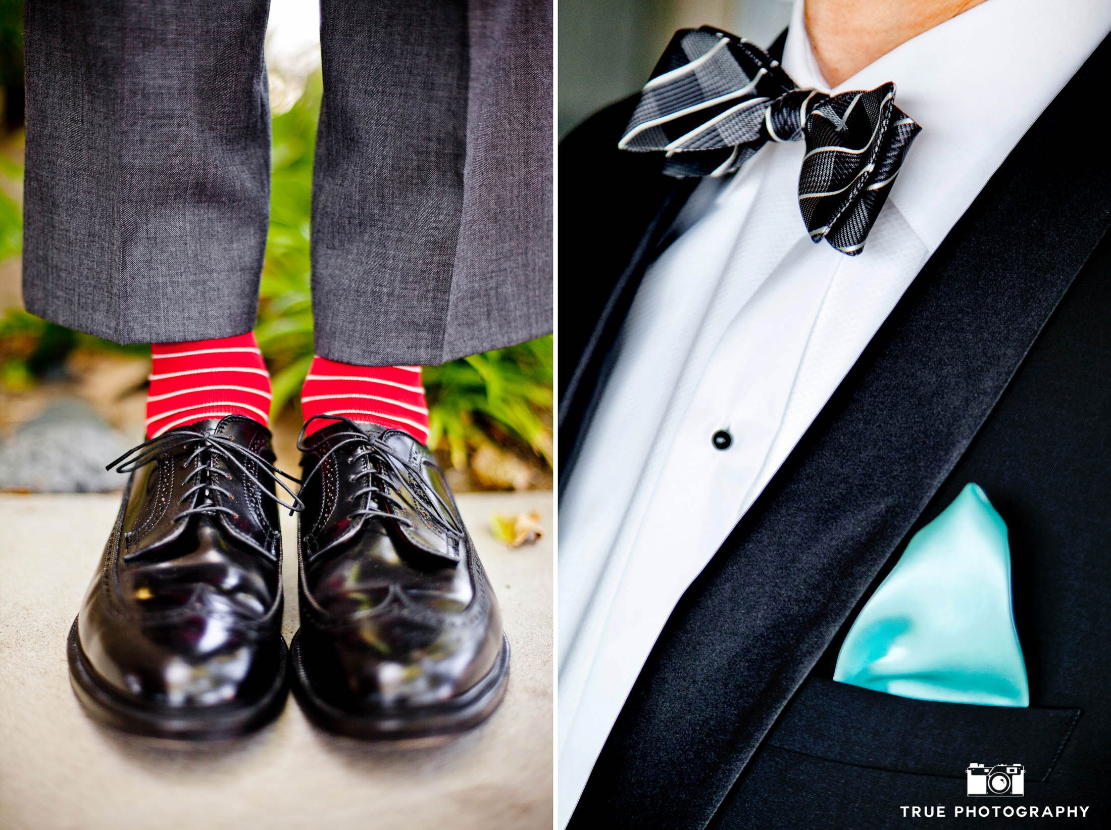 Groom's colorful Socks and Bowtie