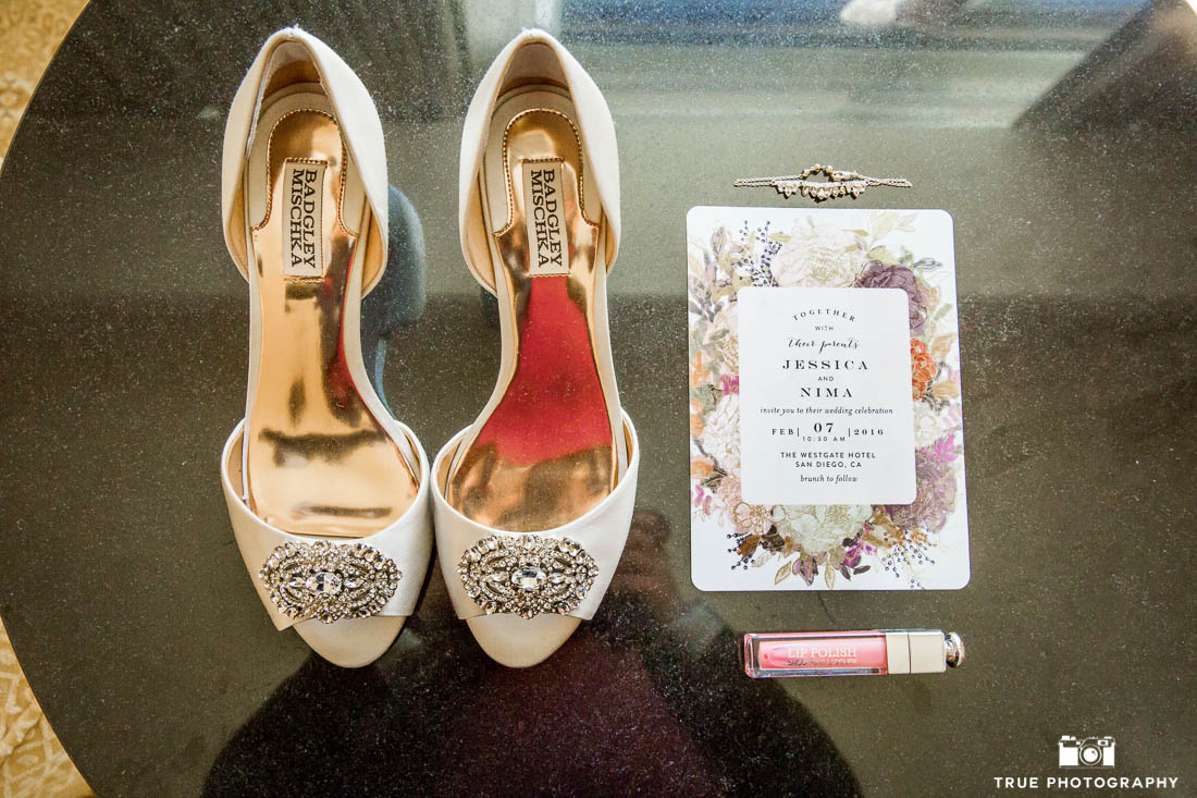 Badgley Mischka shoes at a San Diego Wedding
