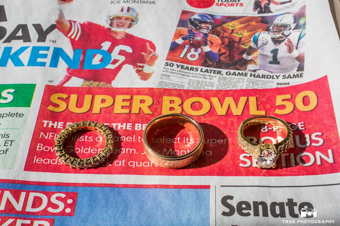Bride and Groom's wedding rings on Super Bowl Sunday