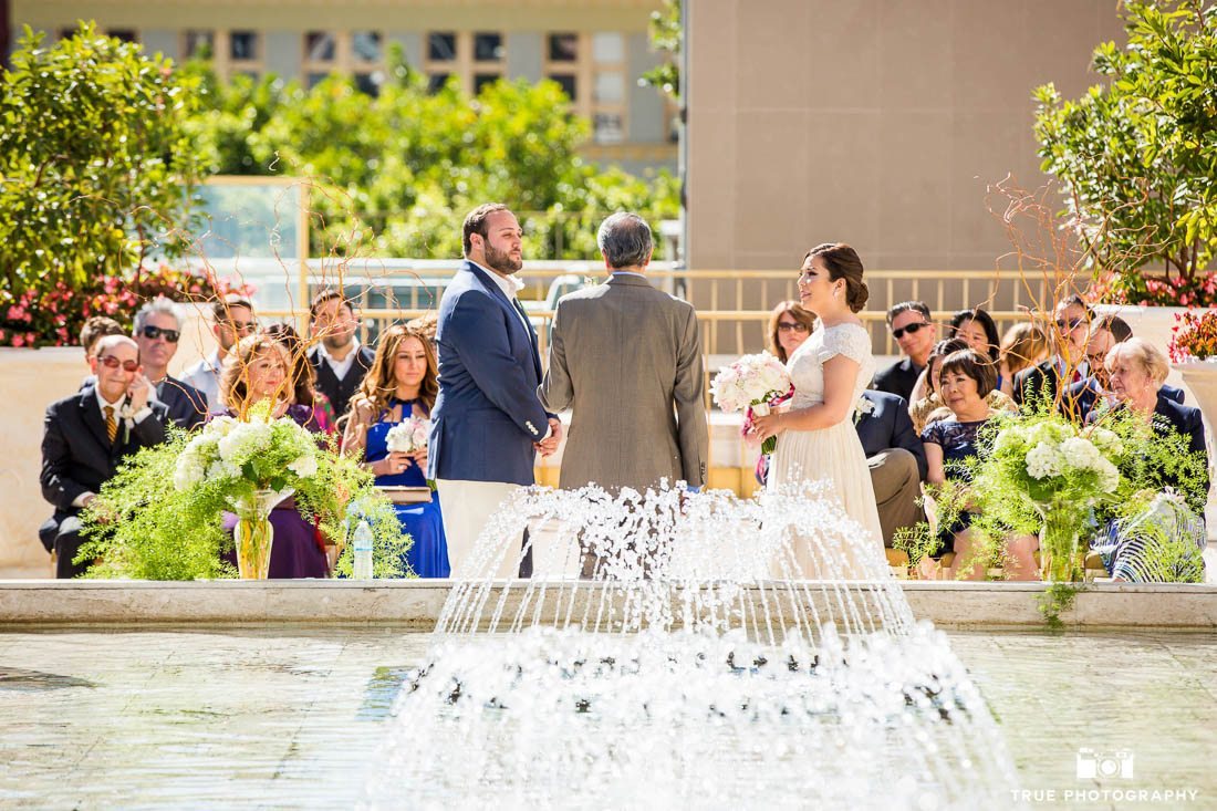 Wedding ceremony on Super Bowl Sunday at the Westgate Hotel Roof