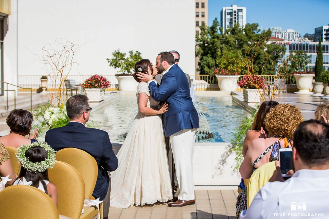 First Kiss at a wedding at the Westgate Hotel in Downtown San Diego