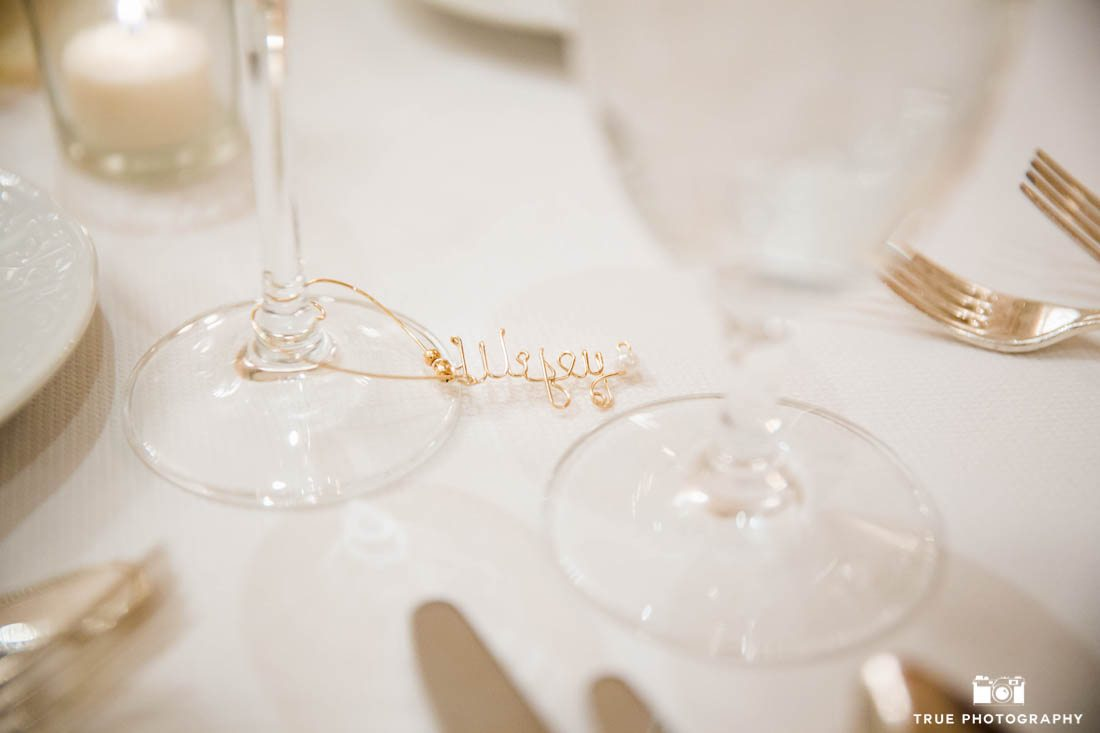 Wine glass labels at Super Bowl Sunday wedding in San Diego