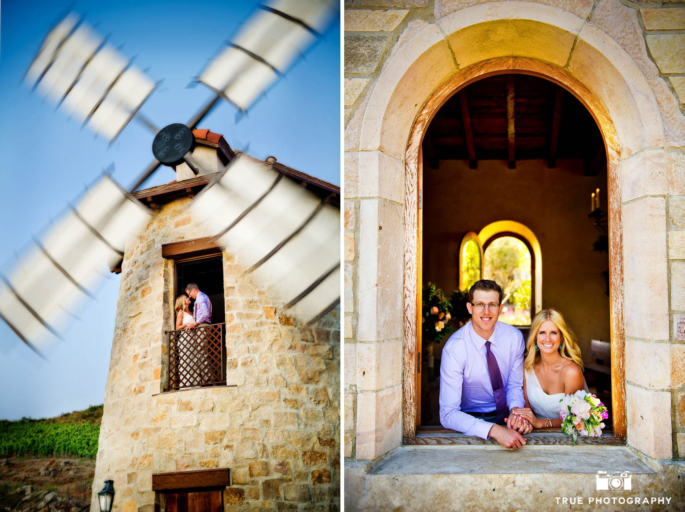 Wedding Couple in Windmill at Cal-A-Vie