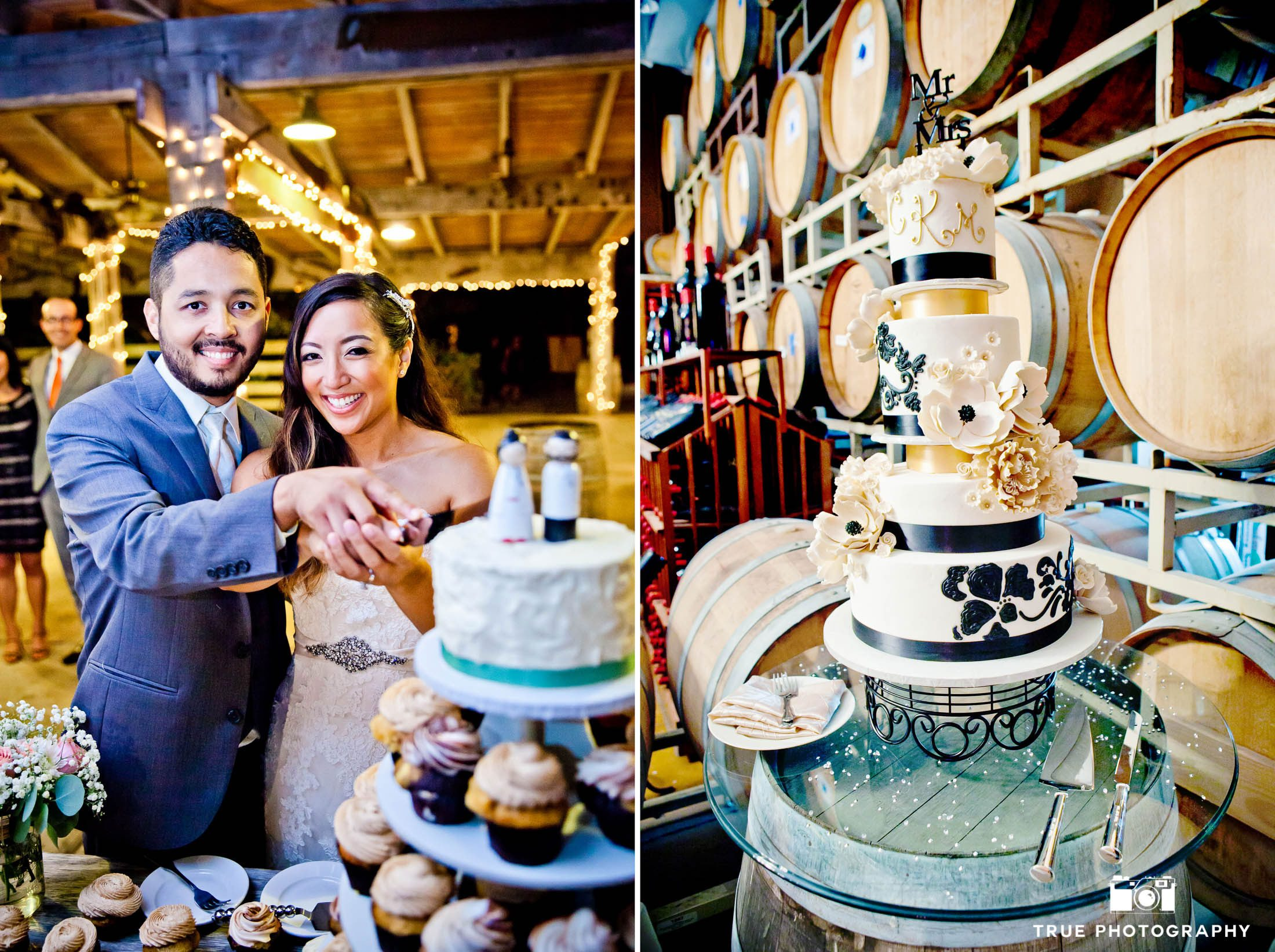 Couple Cuts into Cake during Wedding Reception