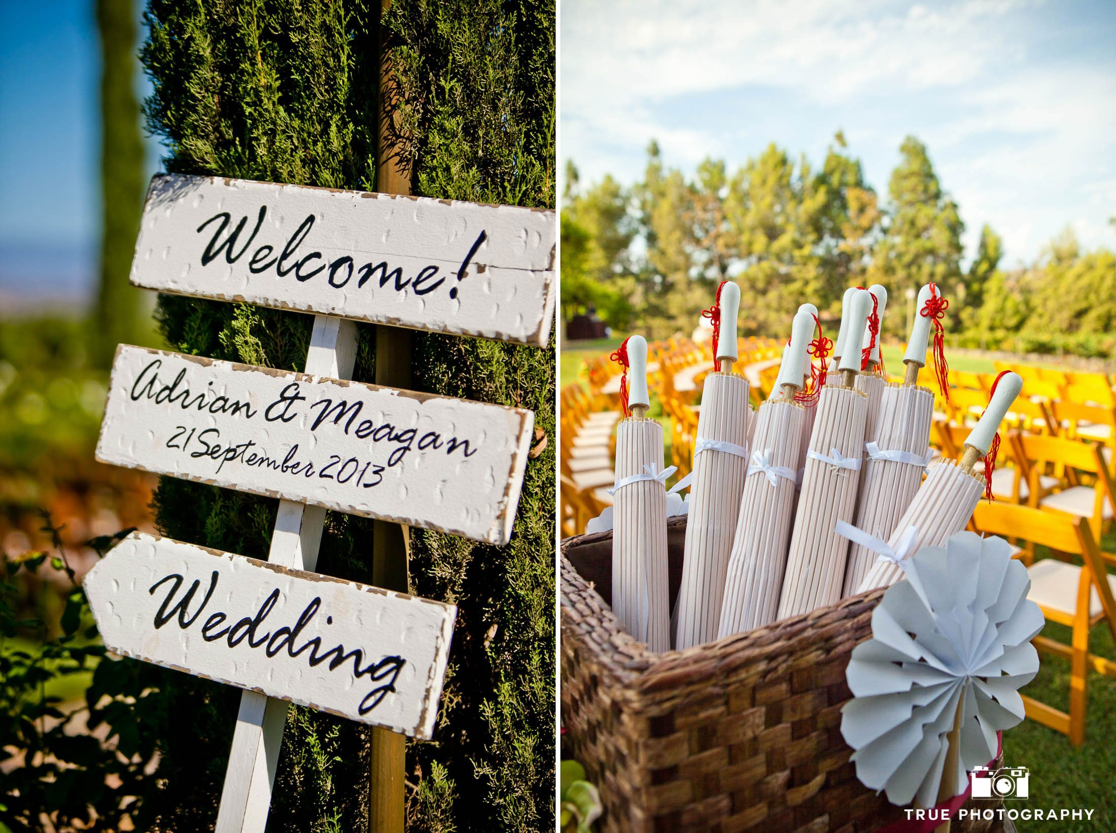 Umbrellas and Signs for vineyard wedding