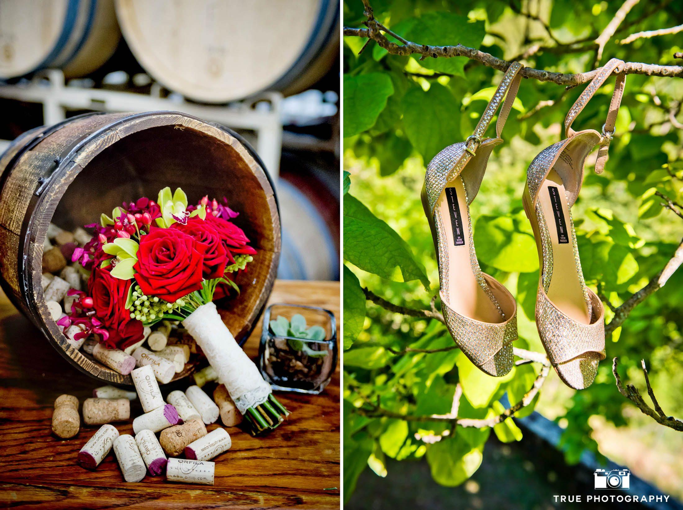 Bride's details during vineyard wedding
