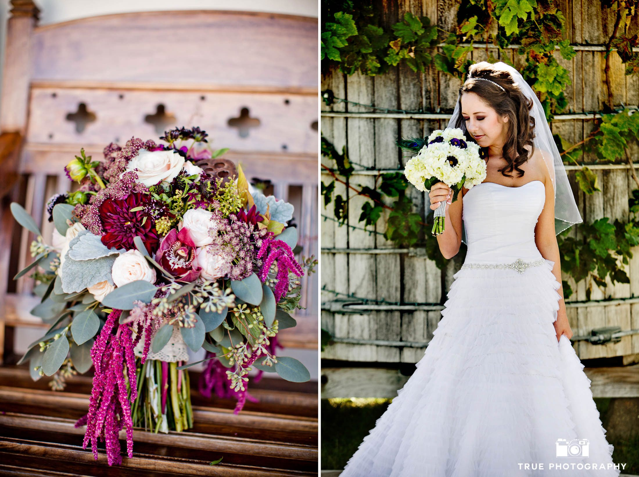 Collaged image of rustic flowers with bride