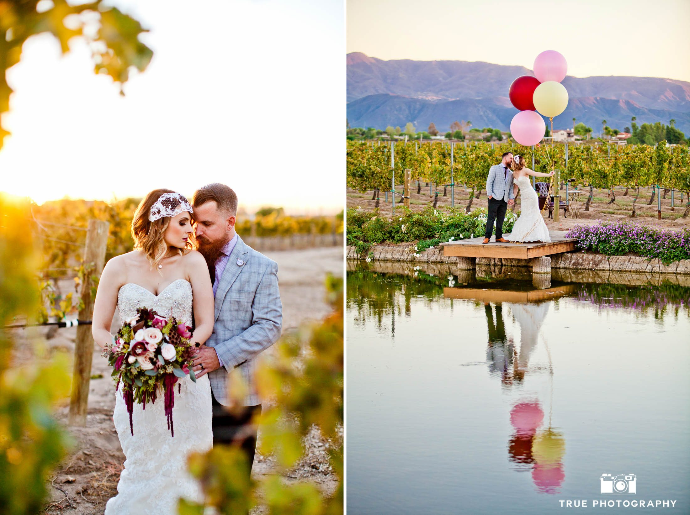 Modern Couple pose in vineyard and with balloons