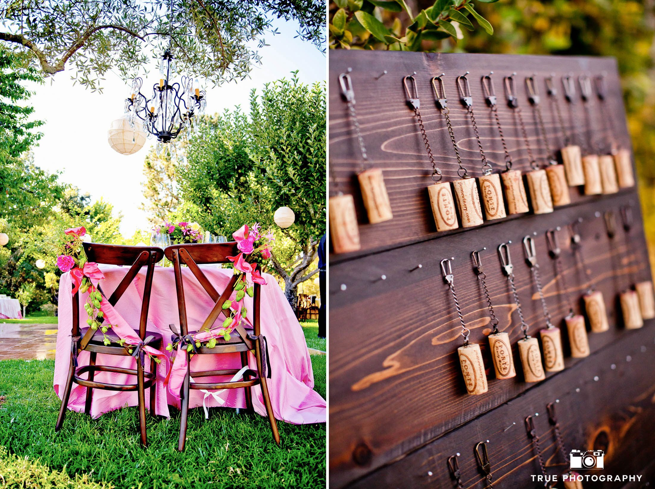 Rustic wine-related reception details during vineyard wedding