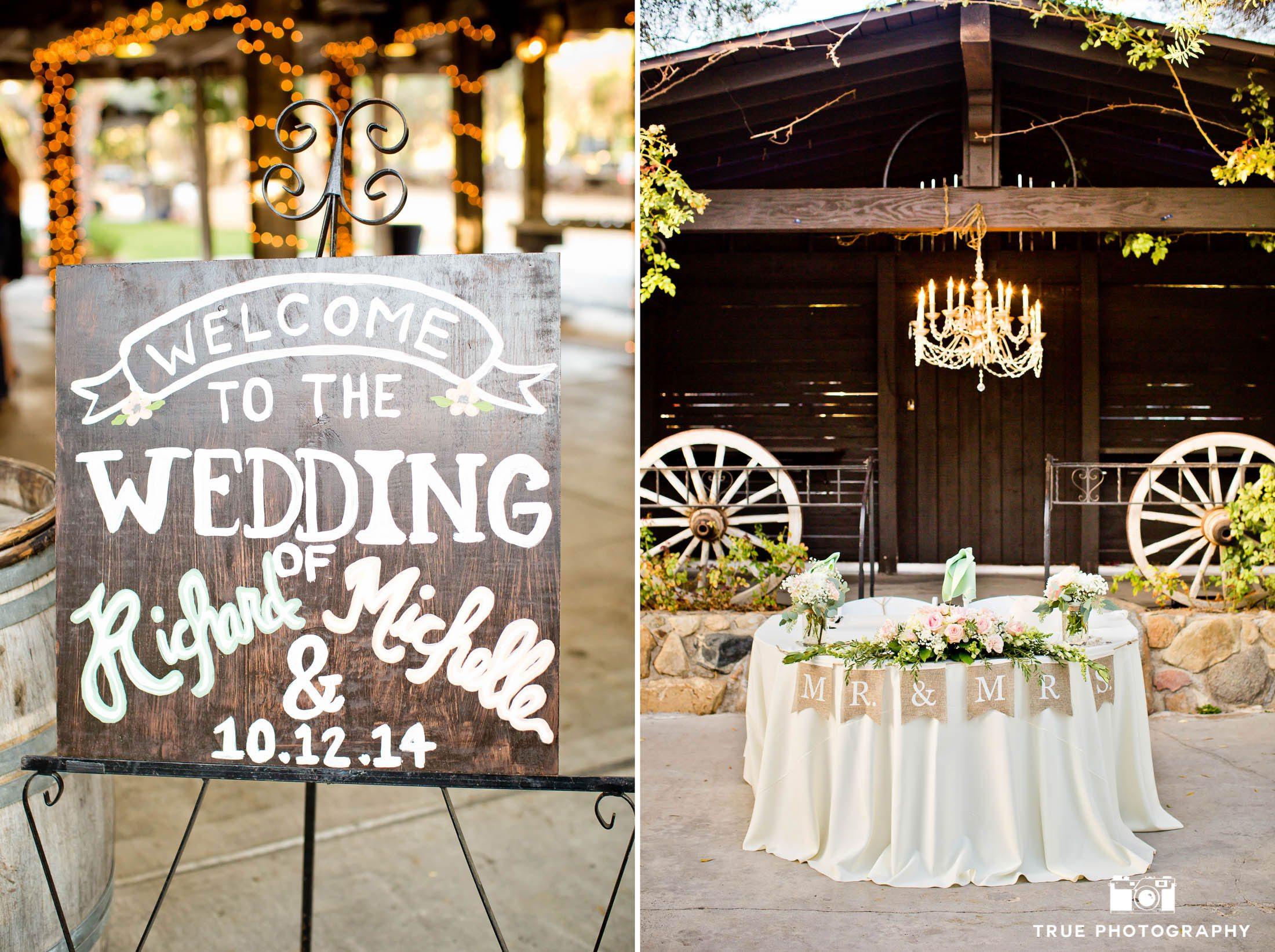 Rustic-themed details at vineyard wedding reception