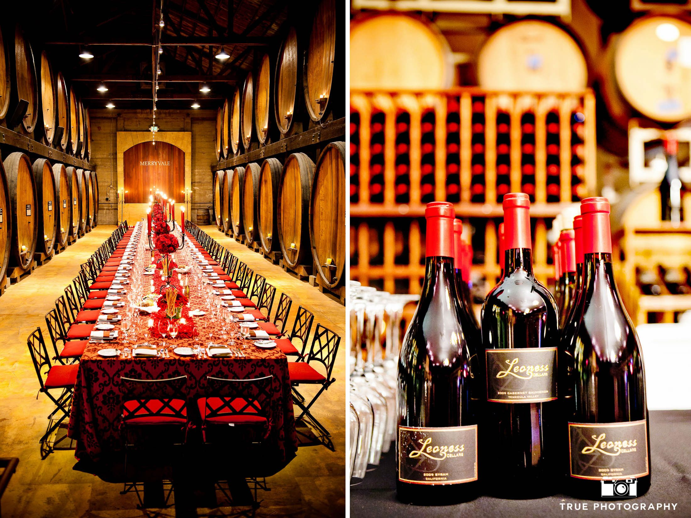 Red wine-themed details during reception