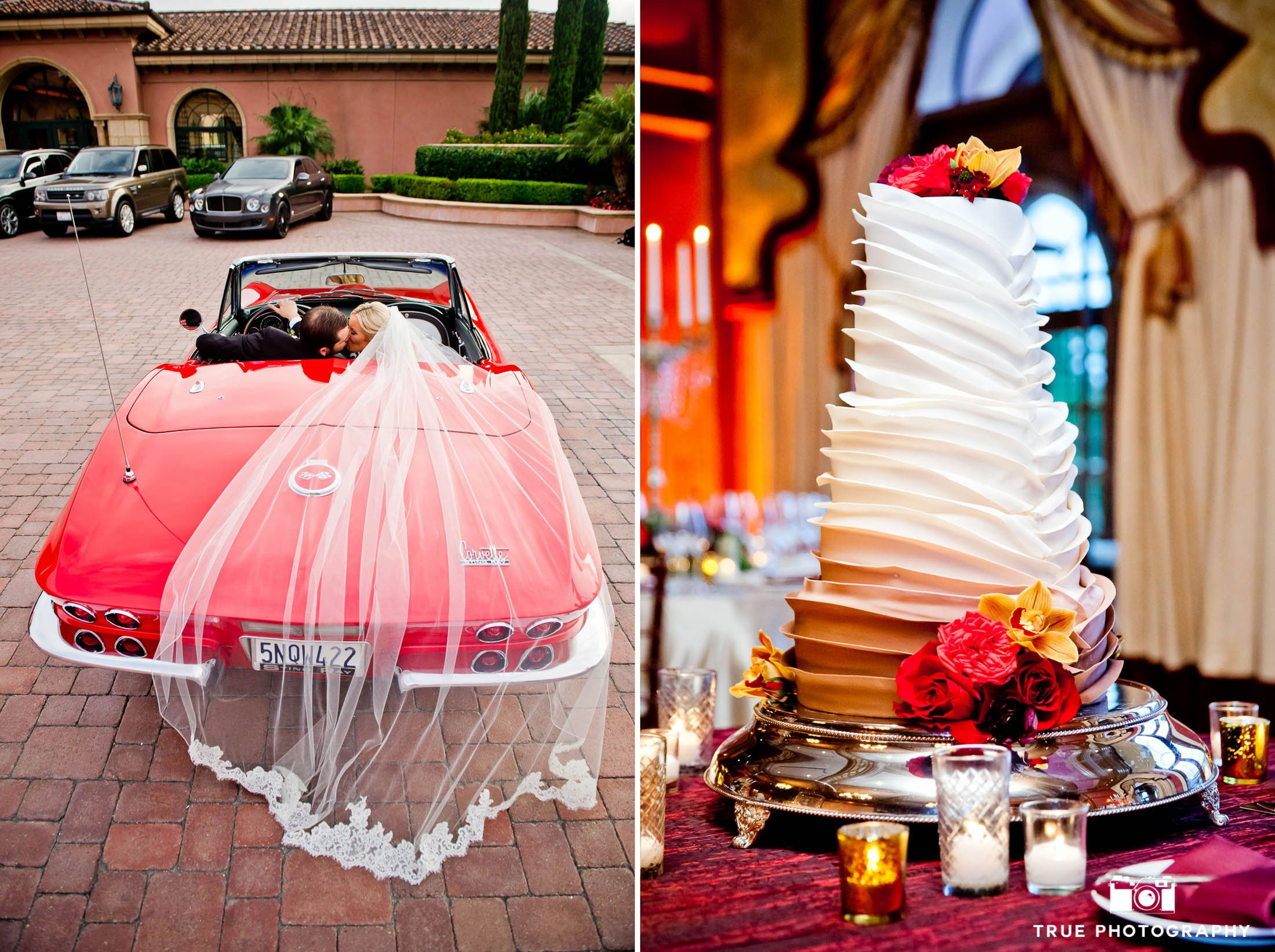 Modern couple in red sport car with ruffled wedding cake
