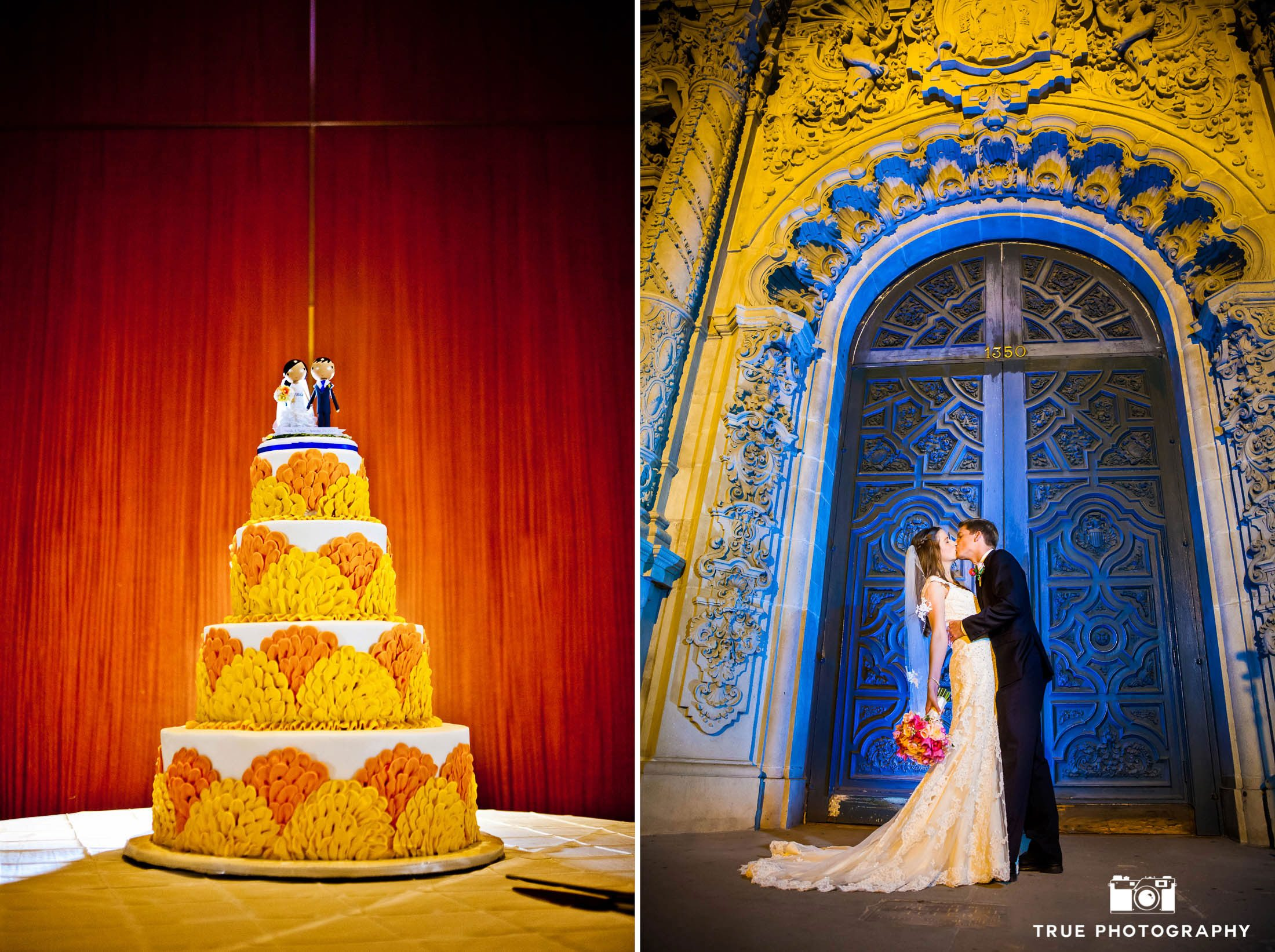 Dramatic orange and blue wedding couple and cake