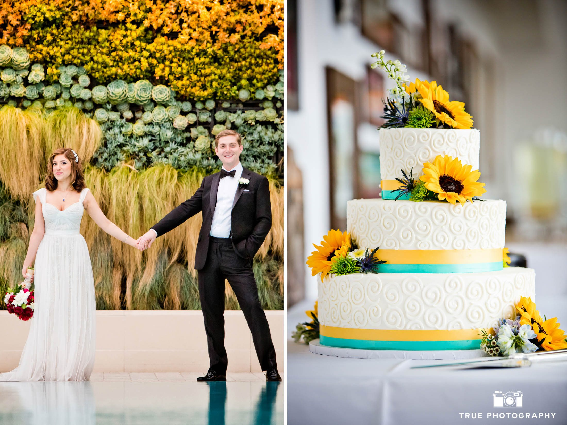 Wedding Couple and vibrant sunflower cake