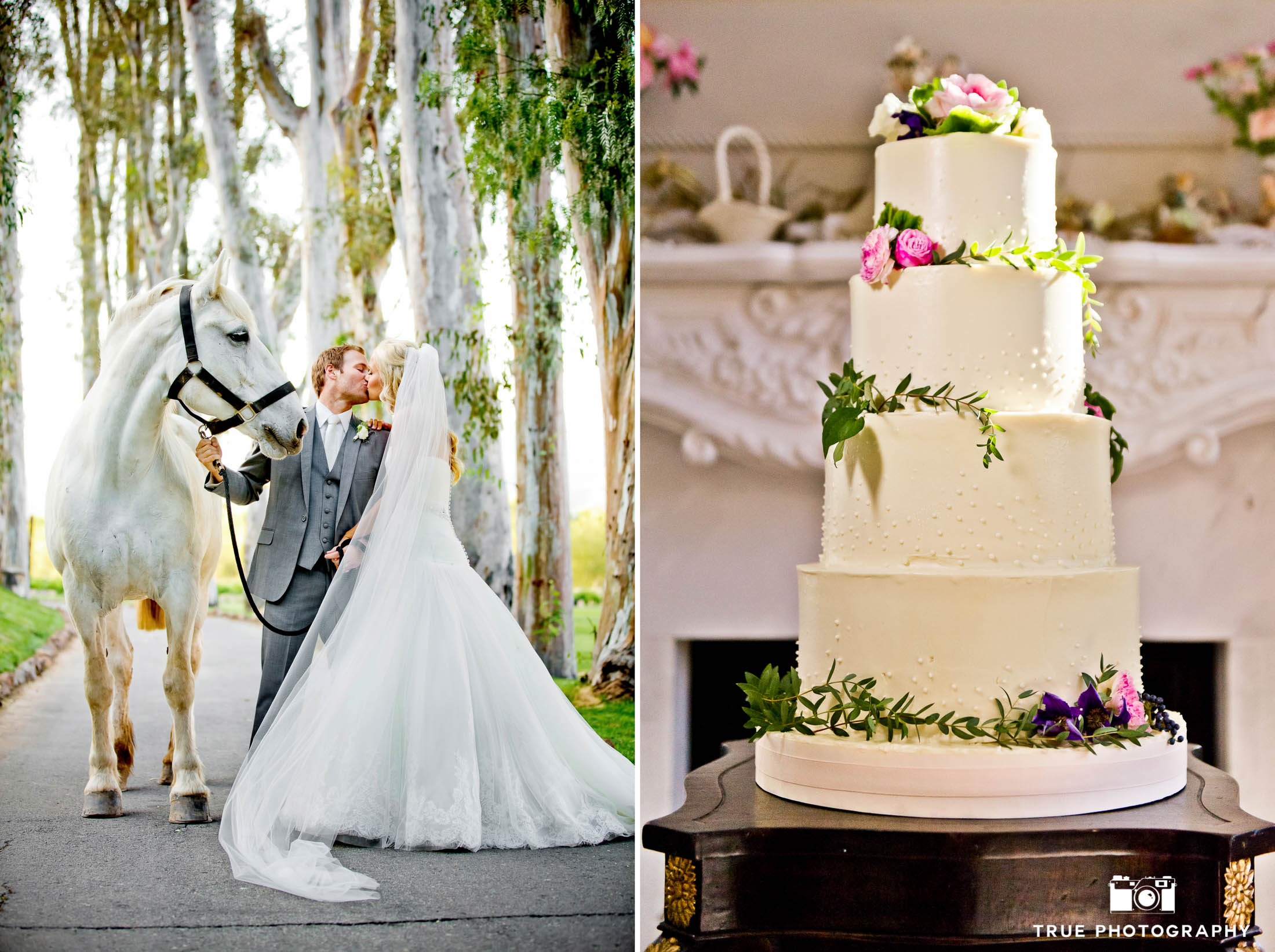 Couple with horse and rustic wedding cake
