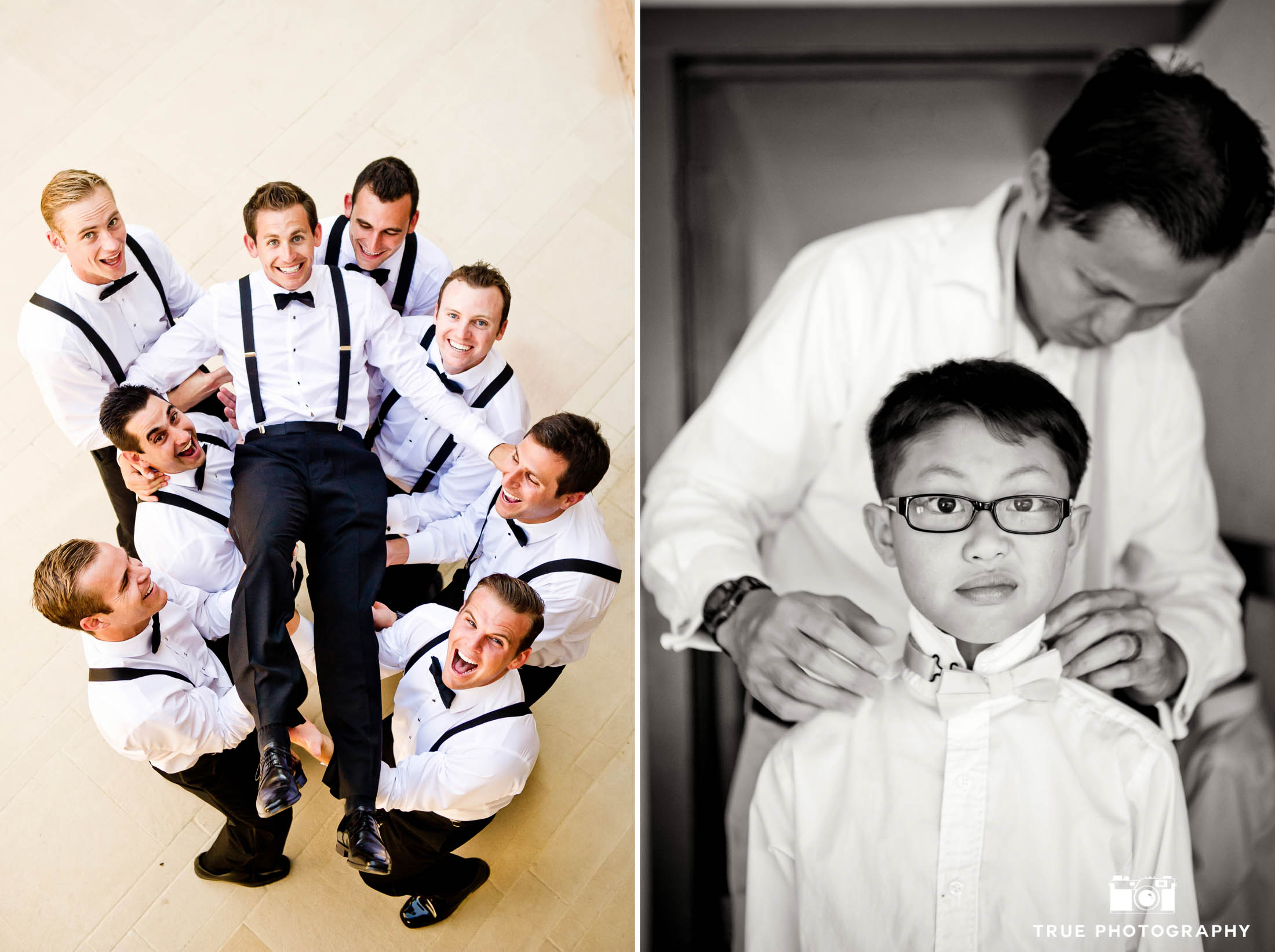 Groomsmen have fun during pre-ceremony