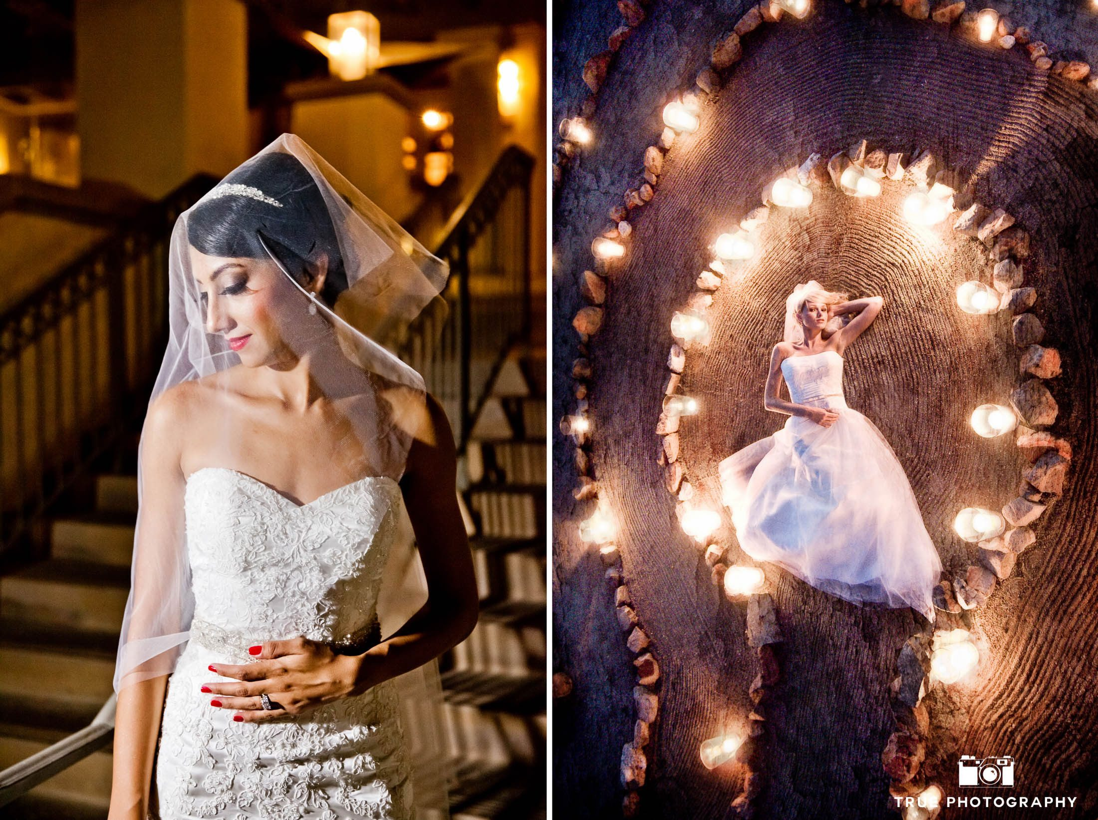 Bride with veil and bride laying down during night photograph