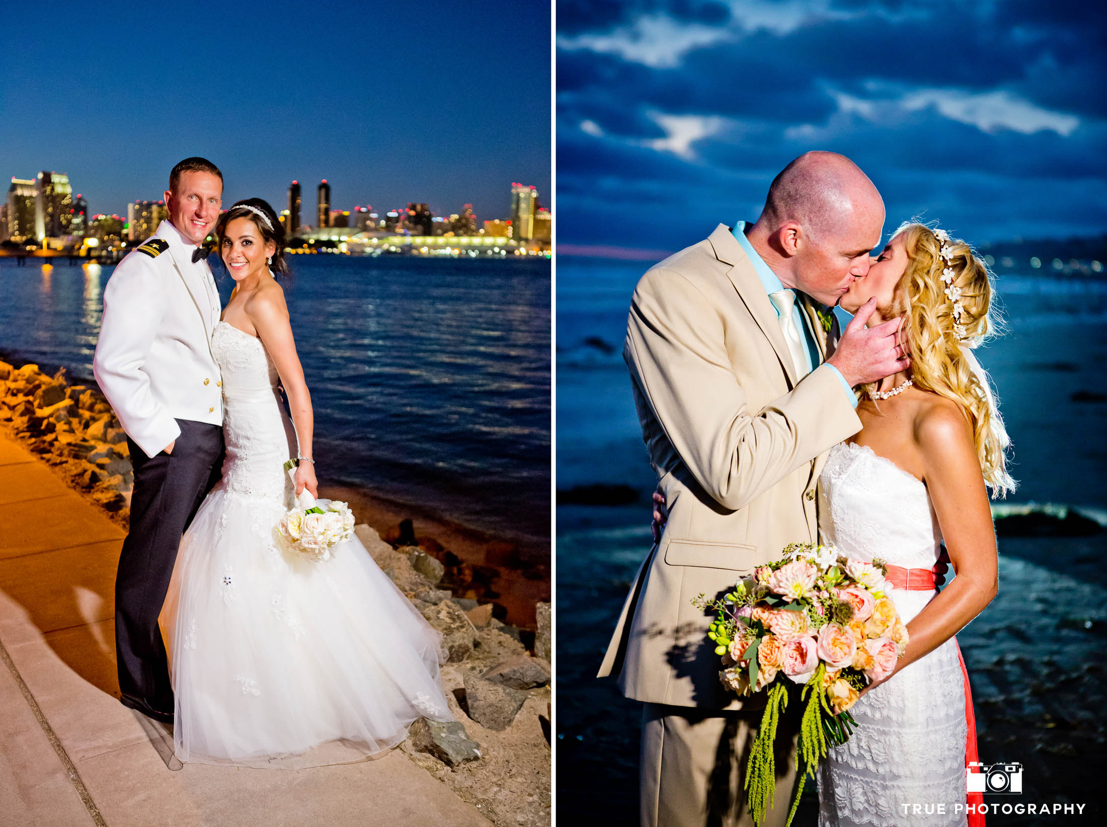 Newlyweds night shot next to San Diego bay