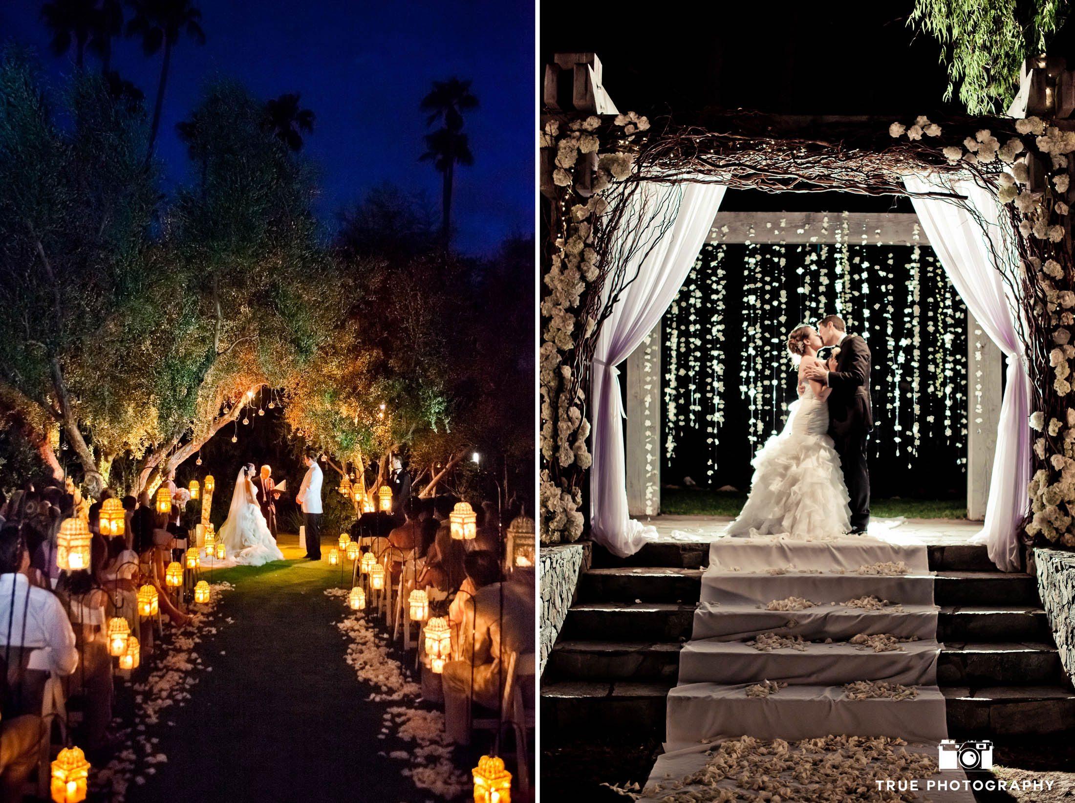 Ceremony night shots of wedding couple