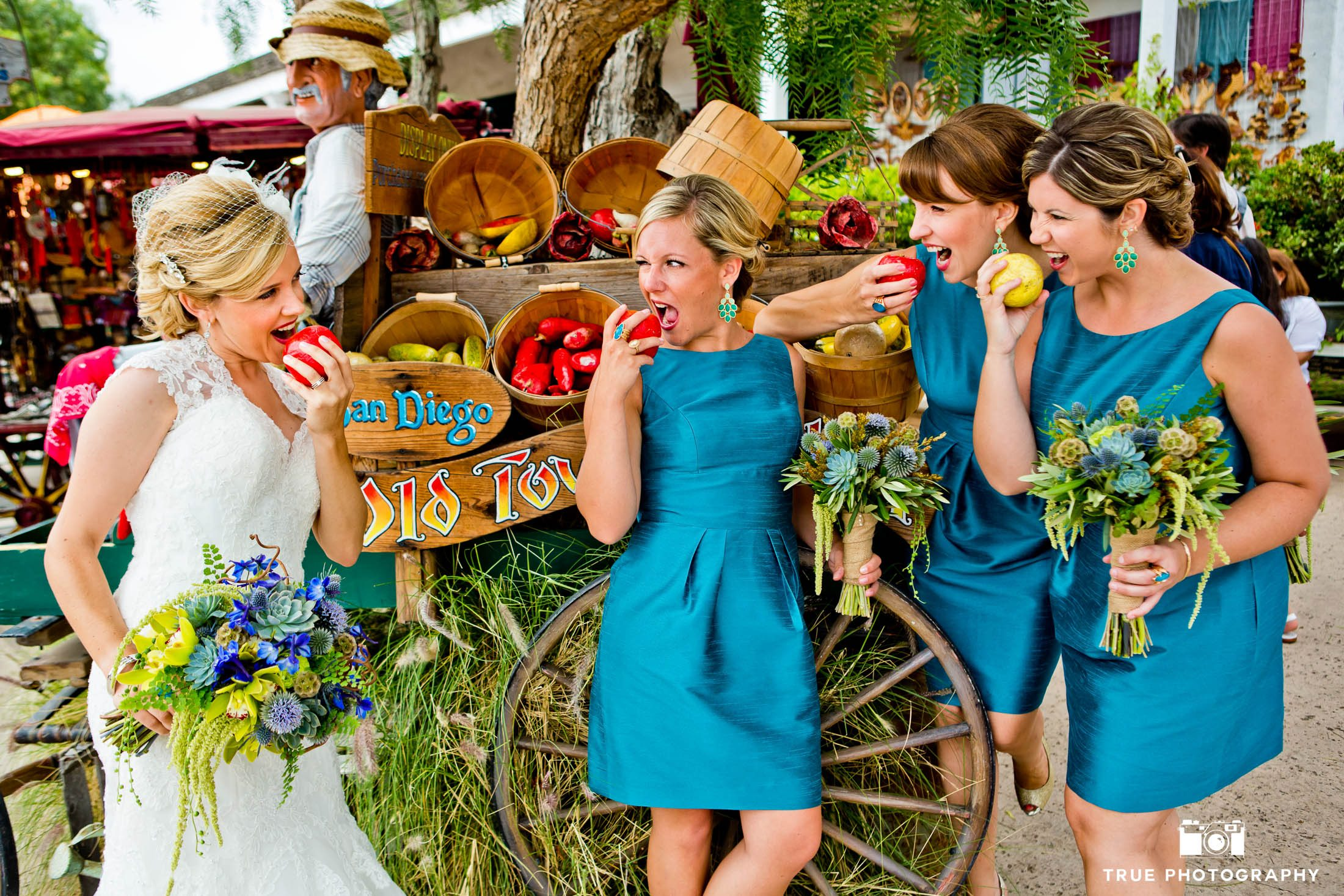 Bridesmaids Eat Apples in Old Town