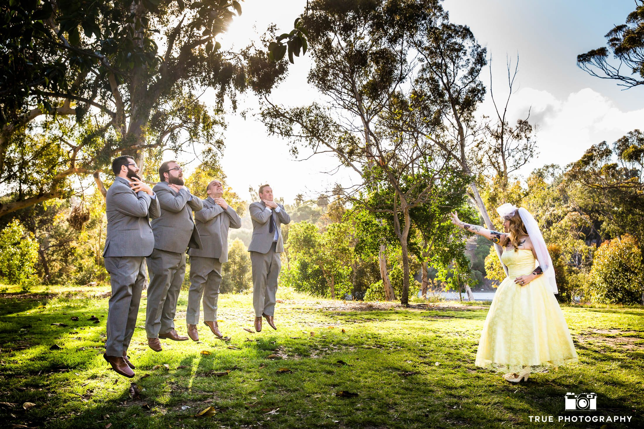 Bride in Yellow Wedding Dress uses Force on Groomsmen