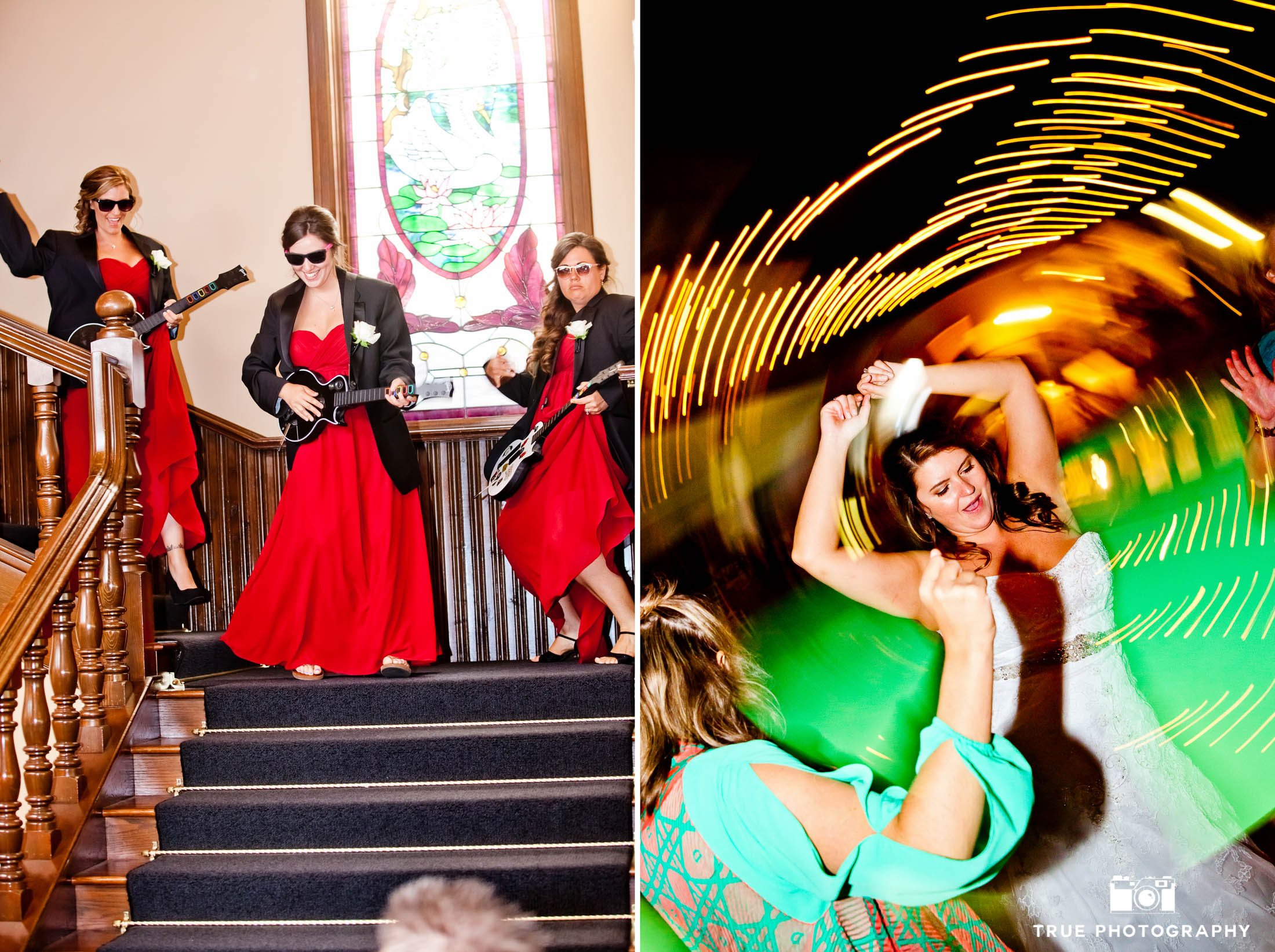 Bridesmaids make fun grand entrance and dance during wedding reception