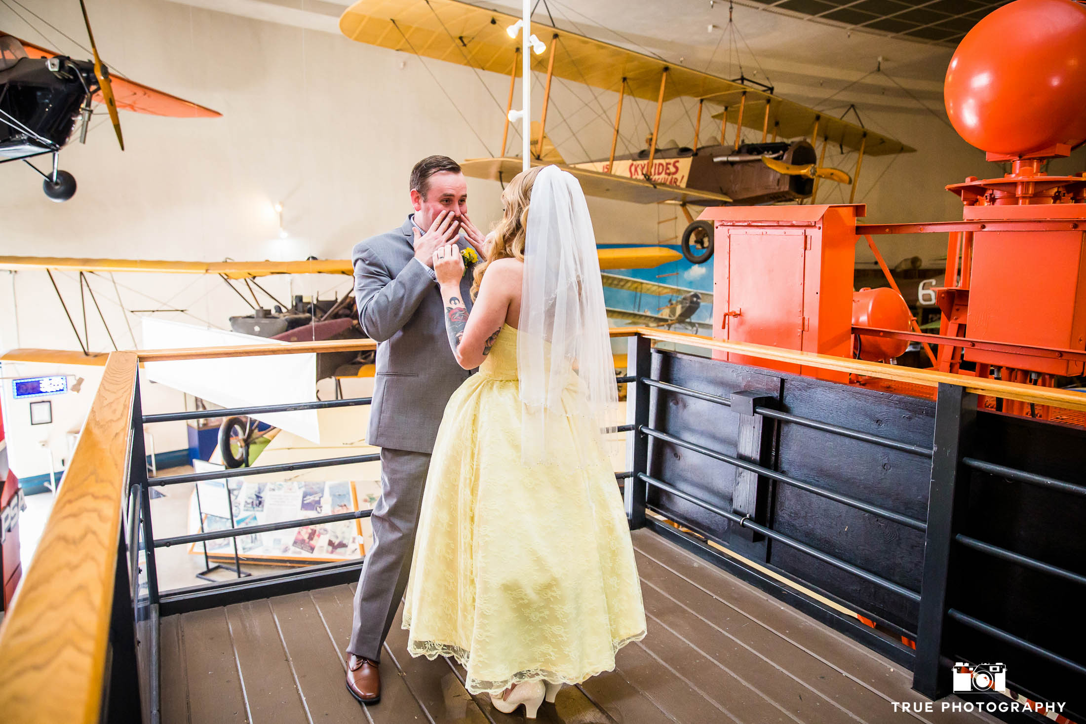 Groom has shocked expression after seeing Bride in Wedding Dress for First Look