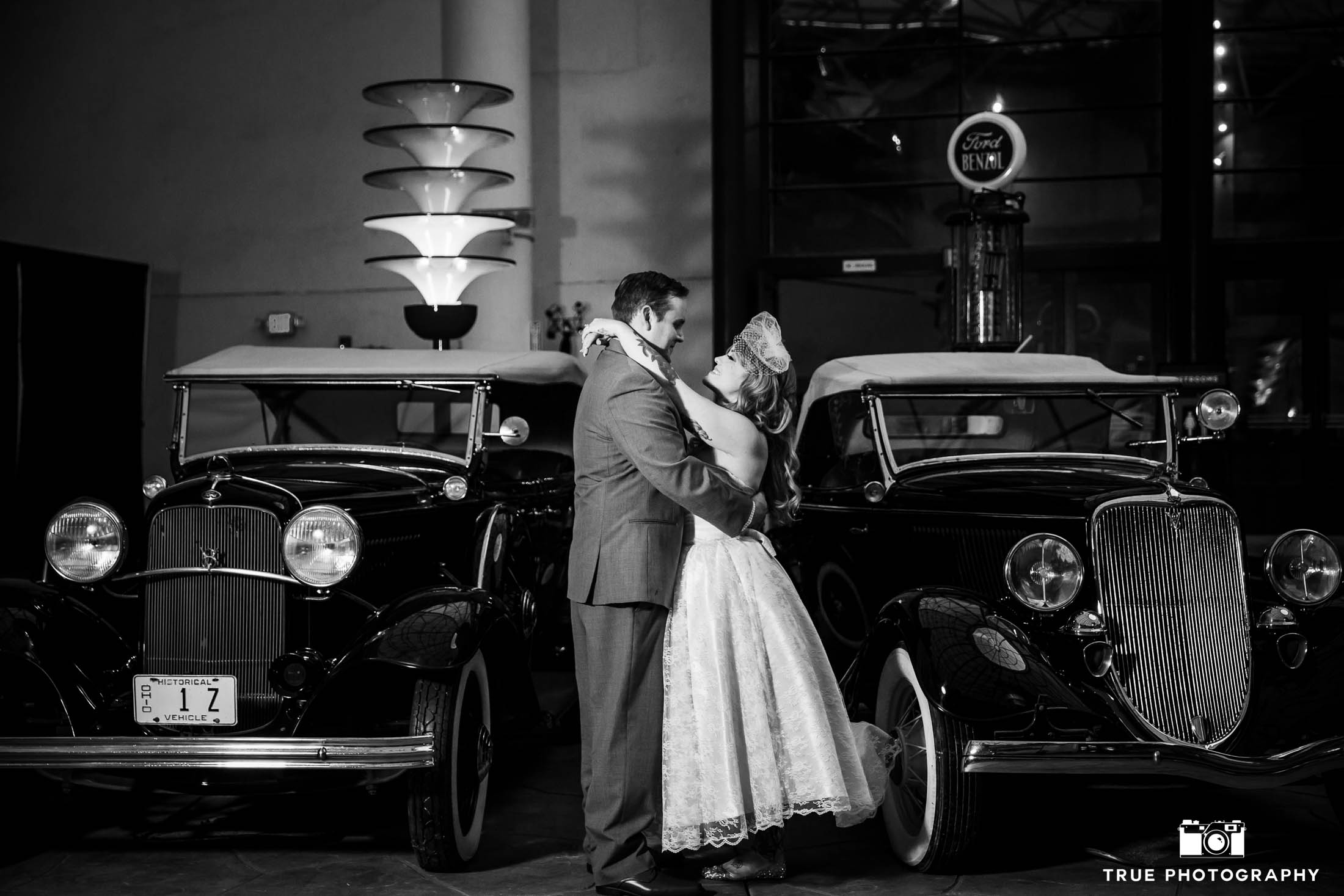 Classic 1950's inspired Bride and Groom with vintage car