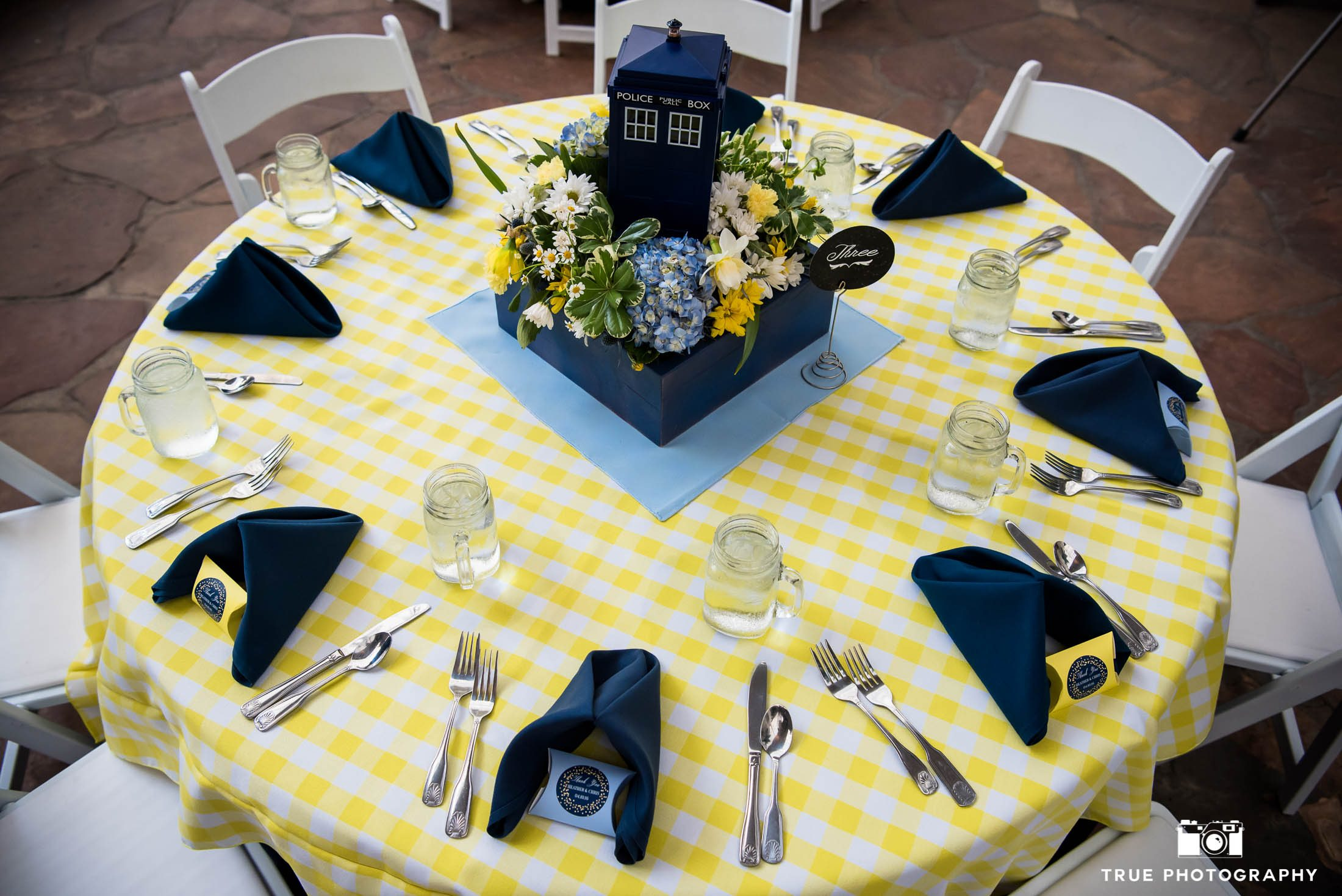 Blue and Yellow checkered reception table with Dr. Who centerpiece